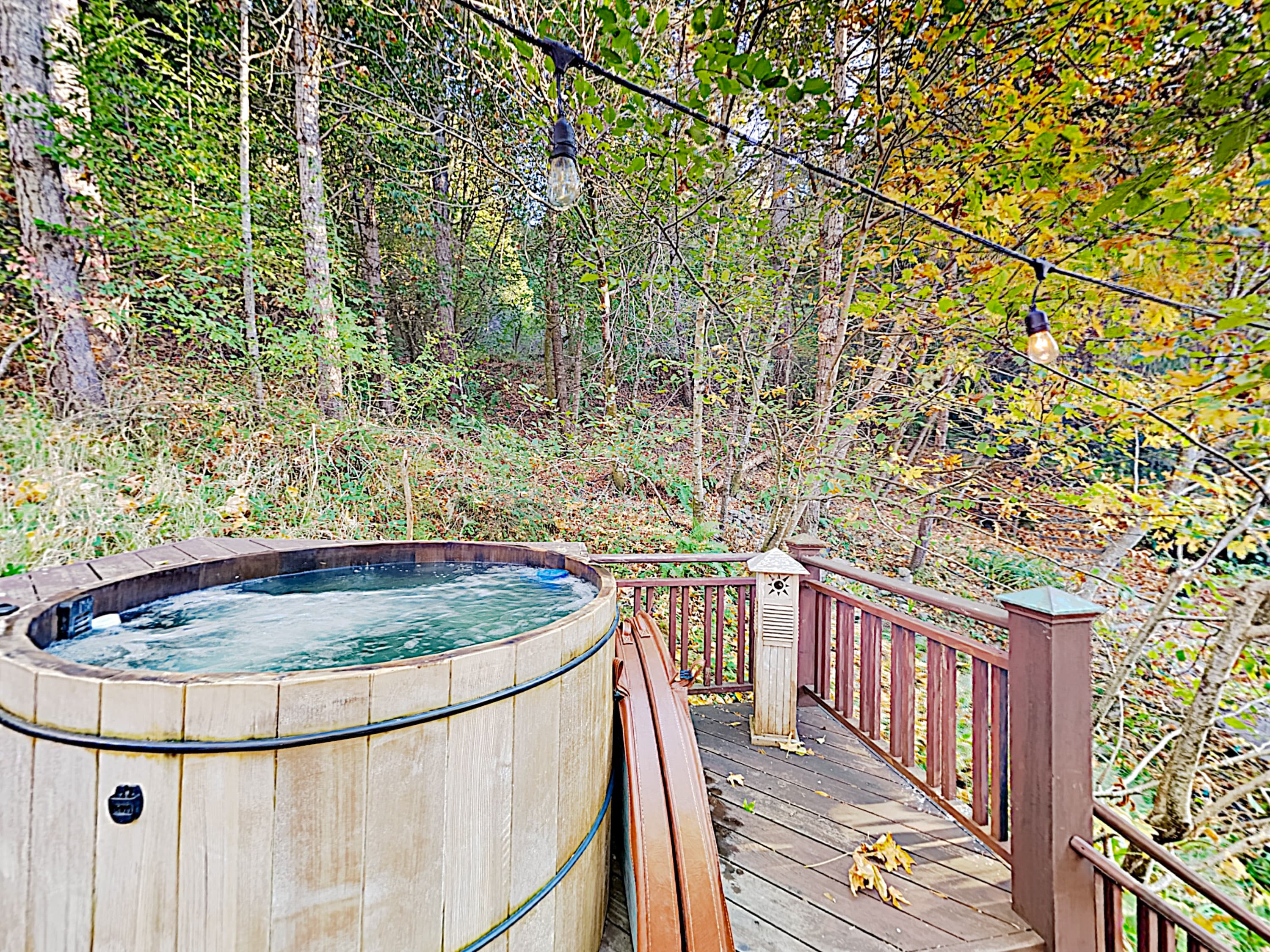 Warm up while taking in the scenic setting in the hot tub.