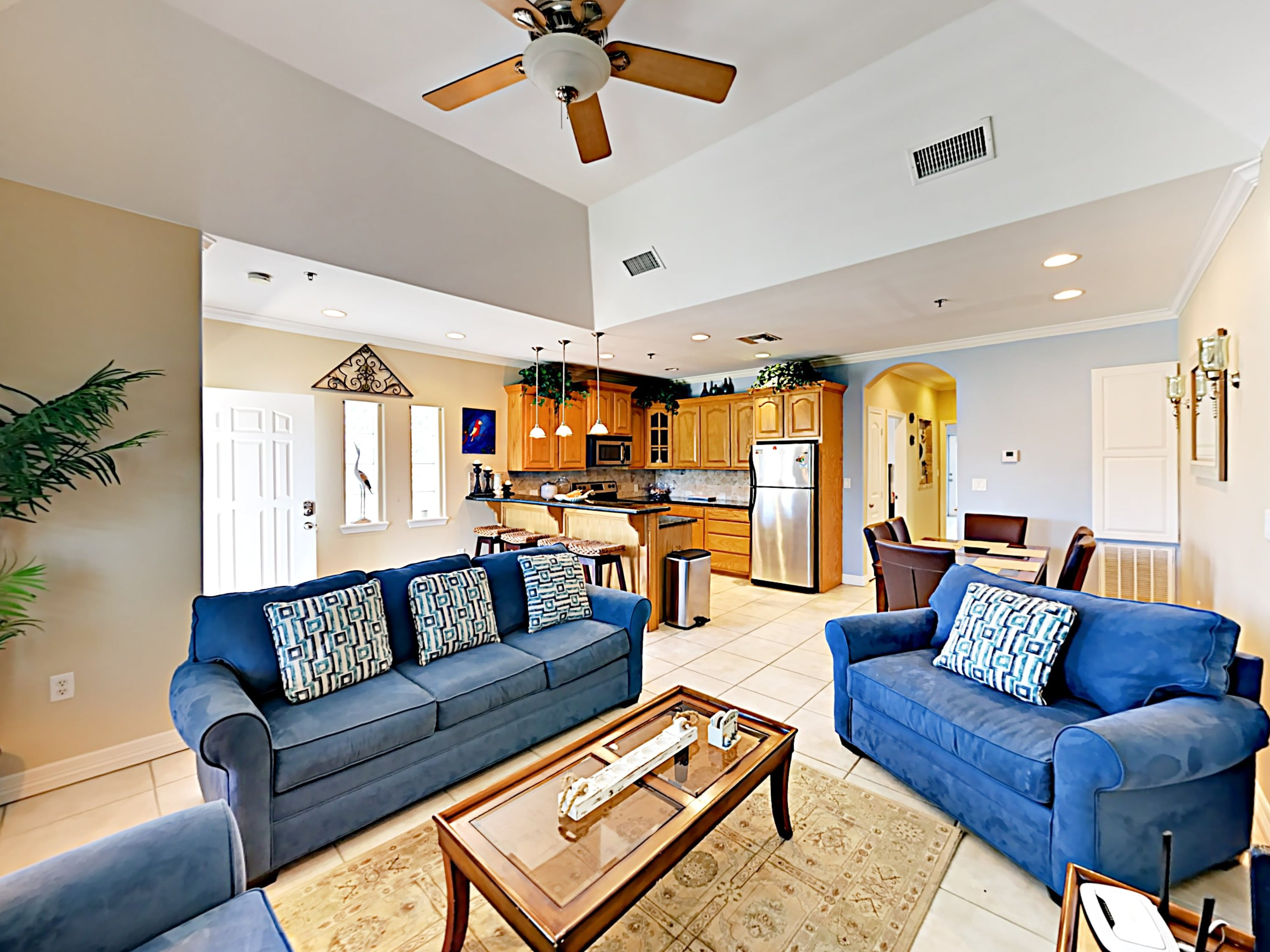 A welcoming open-concept living space is sure to be a prime hang-out location for you and your guests.