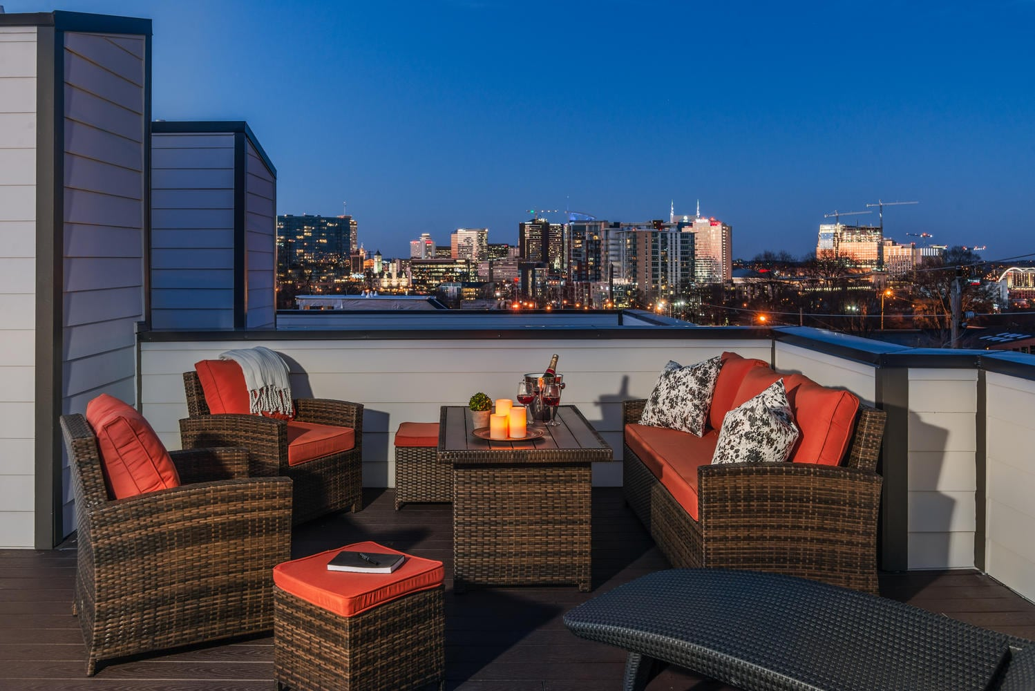 Welcome to Nashville! A sprawling, 900-square-foot rooftop deck boasts unobstructed views of the Nashville skyline.