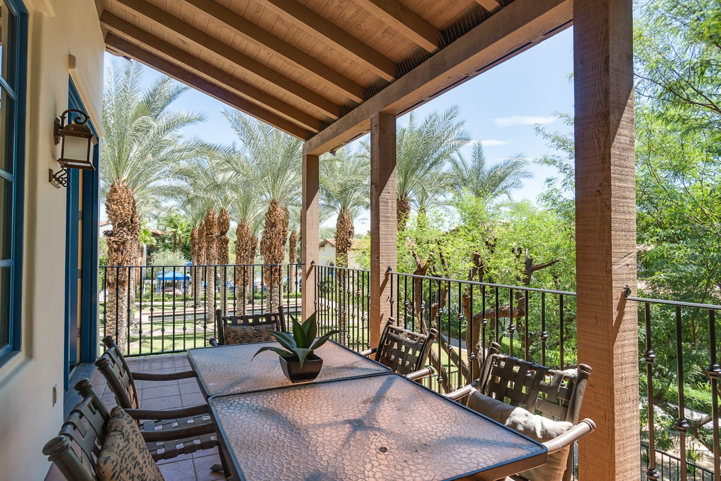 Welcome to La Quinta! Enjoy your morning coffee on the covered balcony with dining table for 6.
