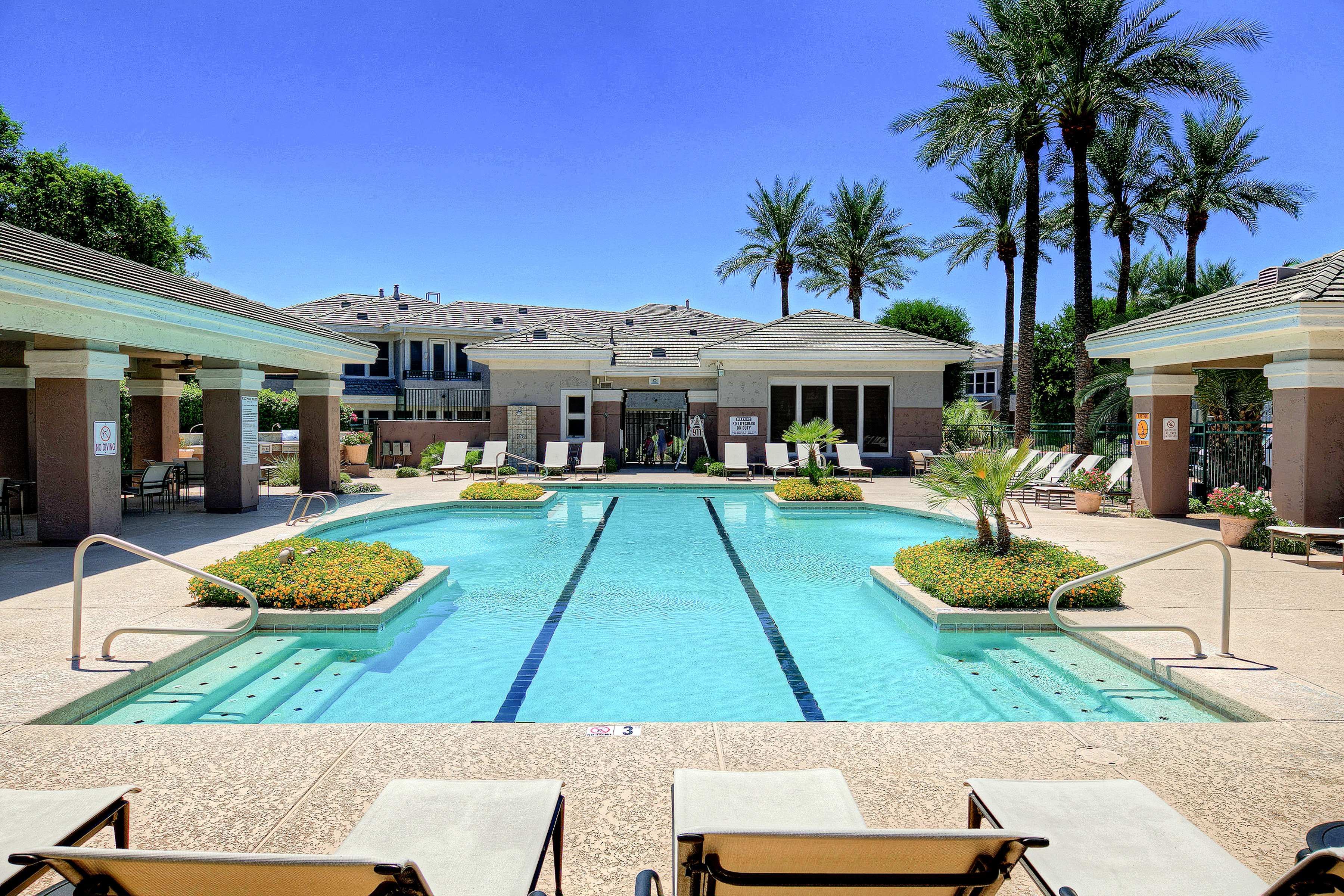 Stunning shared pool at this Scottsdale condo - also includes access to fitness center and barbeque grills.