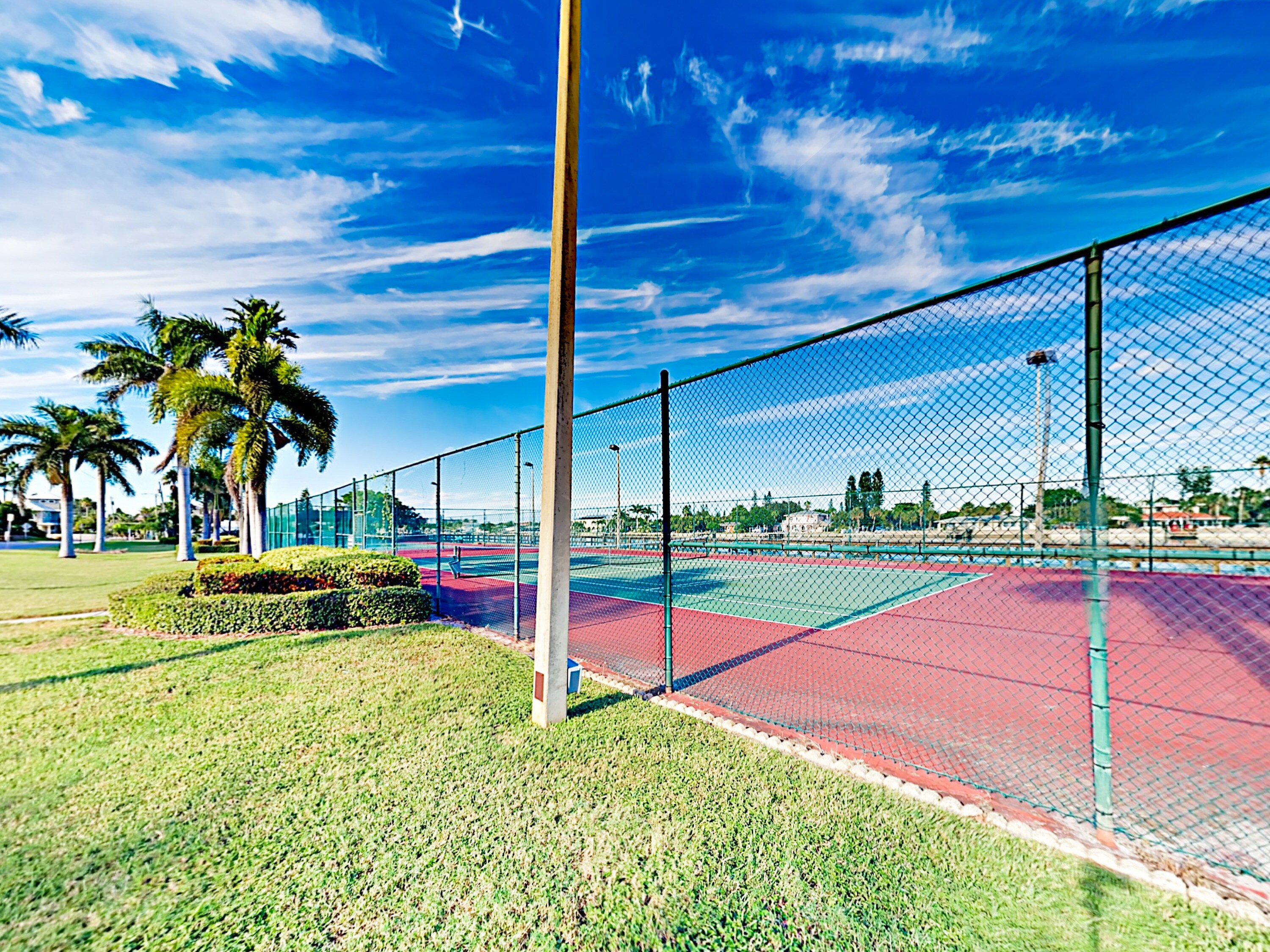 Practice your serve at the on-site tennis courts.