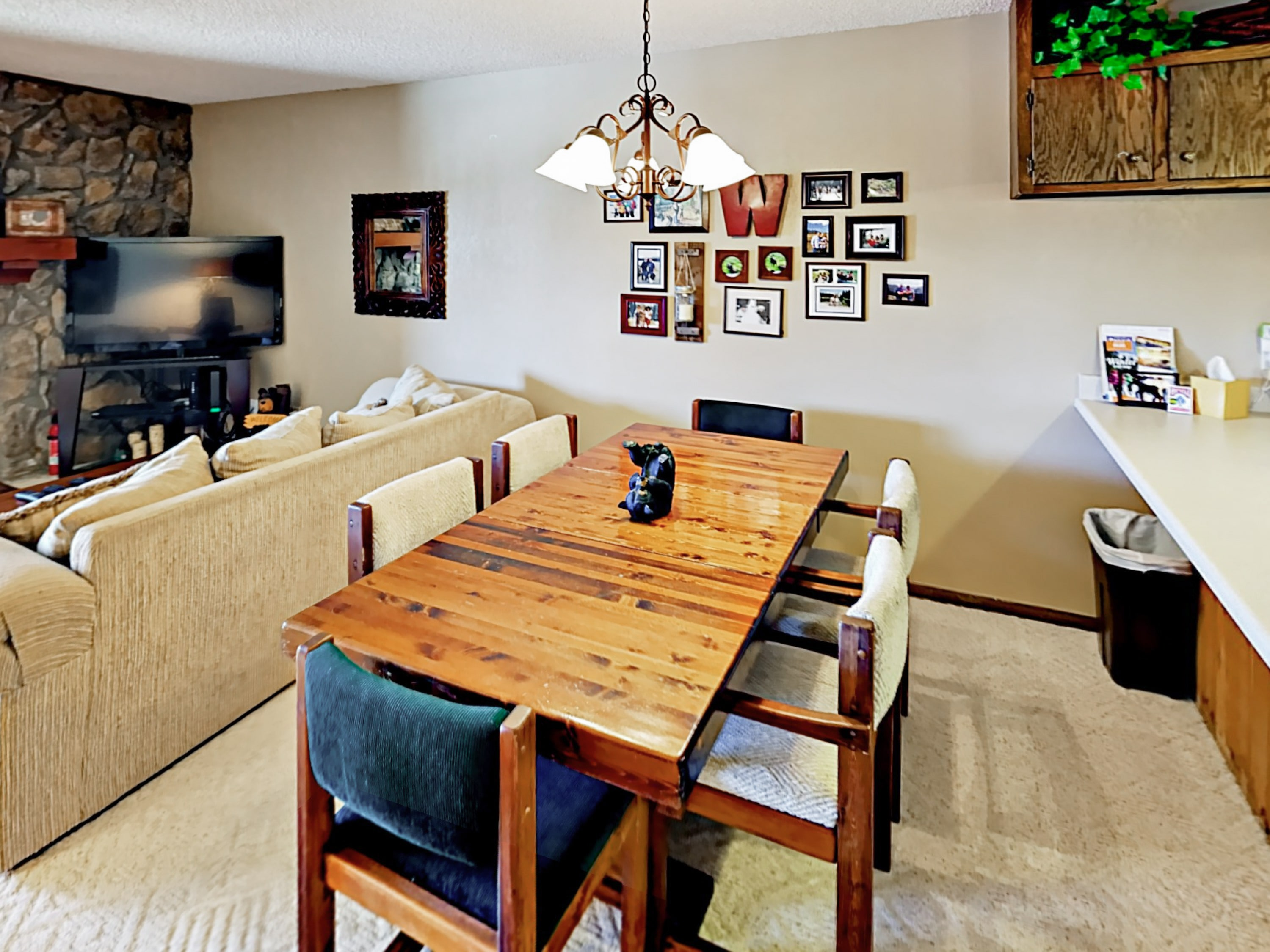 A formal dining table seats 6 to special meals.