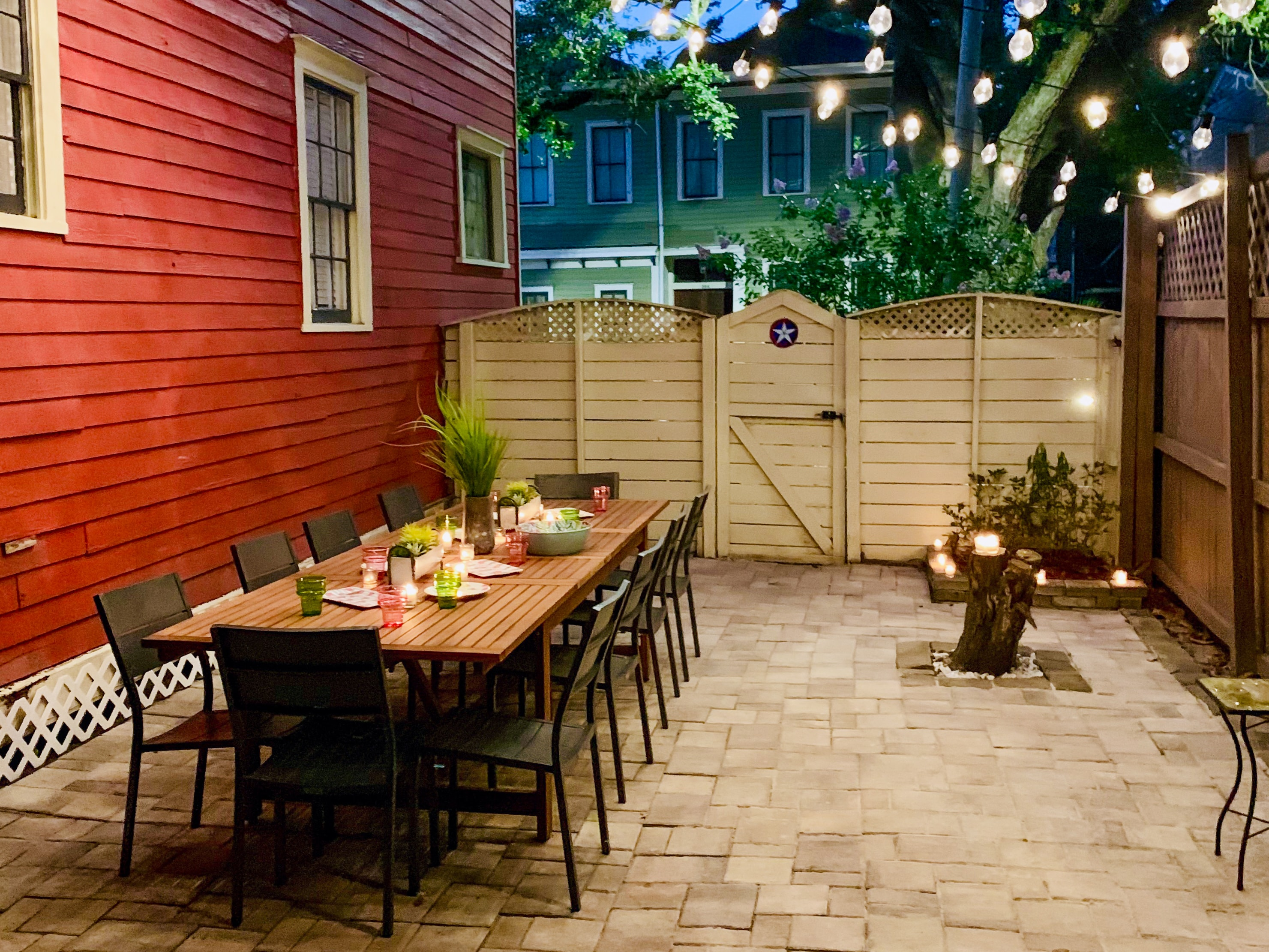 Enjoy festive meals on the enchanting private patio.