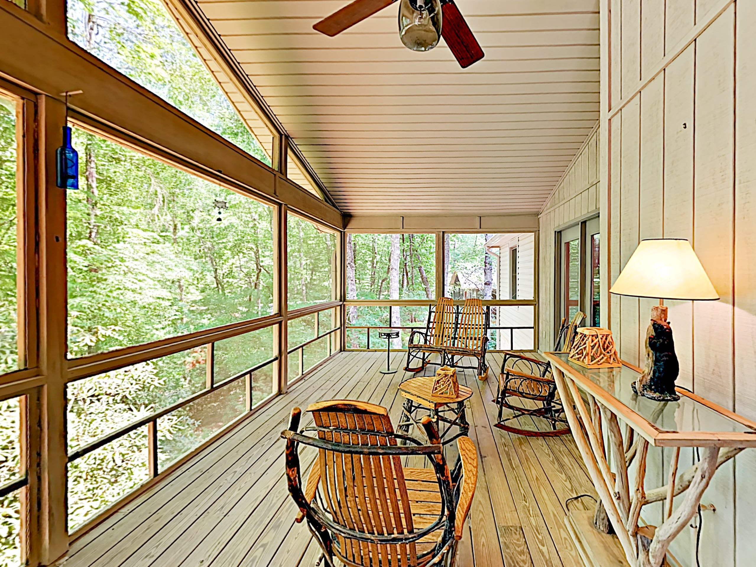 Sip morning coffee on the screened porch, furnished with seating for 6.