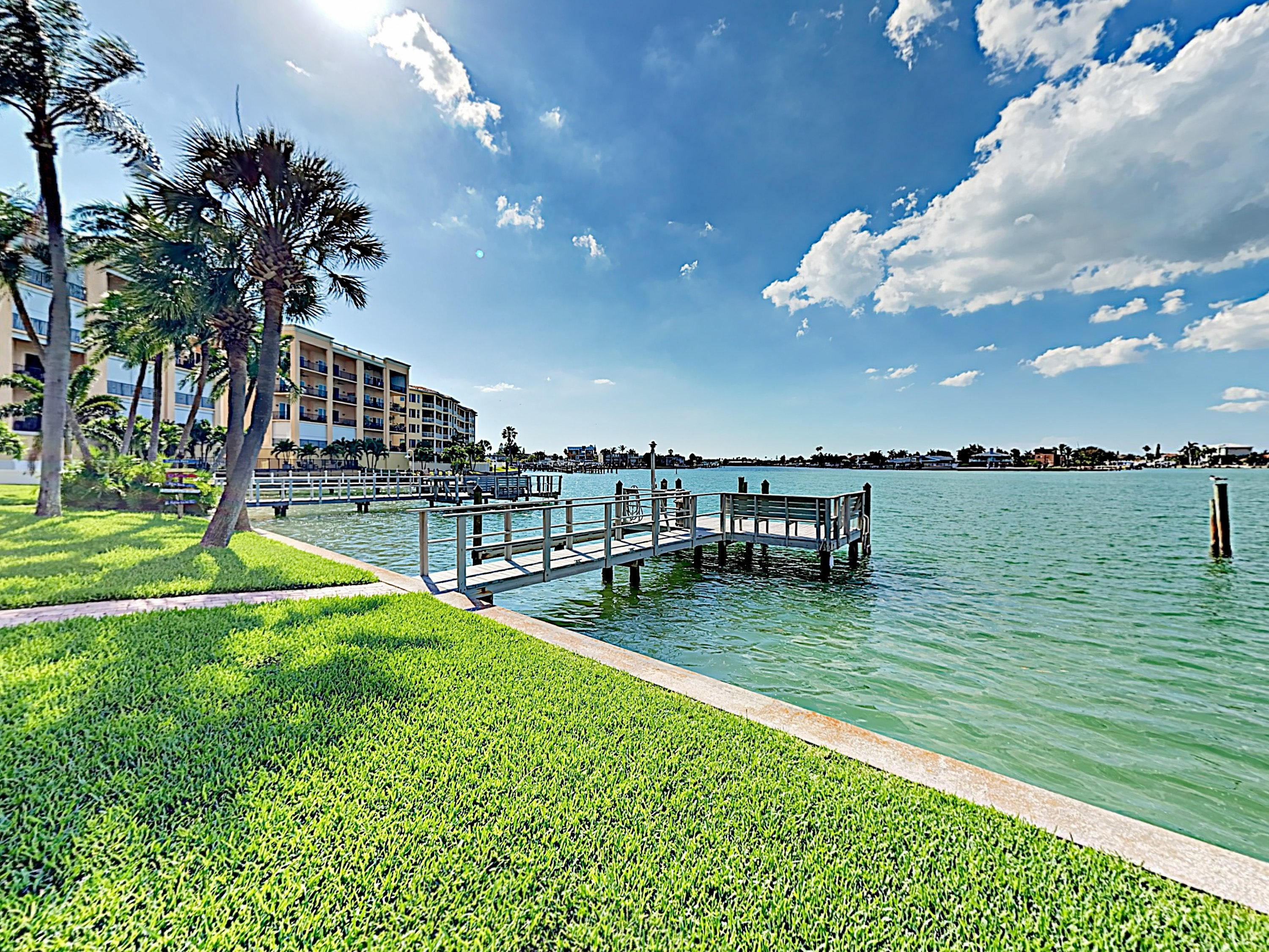 Your condo features a large fishing dock with incredible bay views.