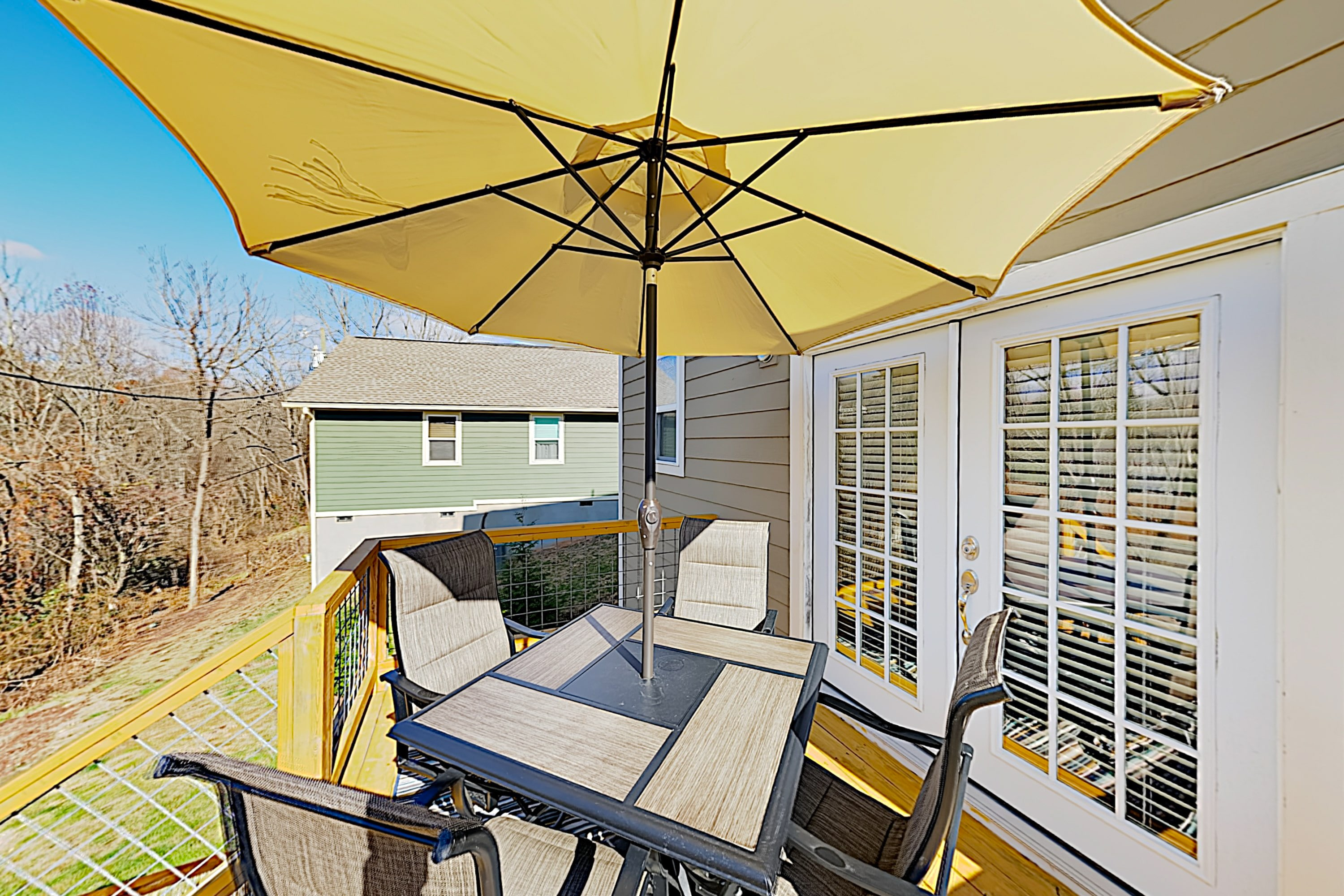 Enjoy meals in the sun on your private balcony. An outdoor table seats 4.