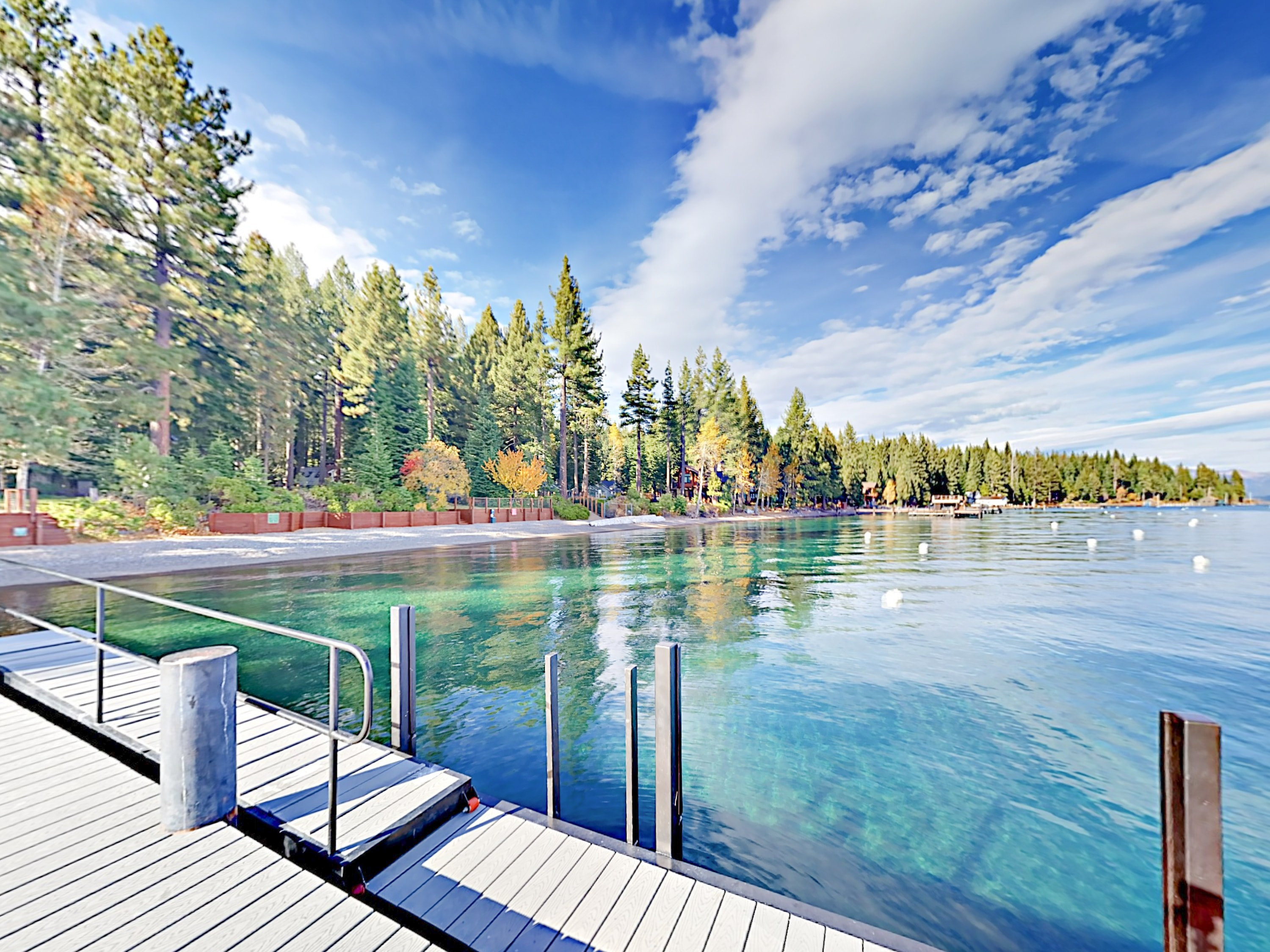 Take a refreshing dip in gorgeous Lake Tahoe from the dock at the Tahoe Beach Park Association.