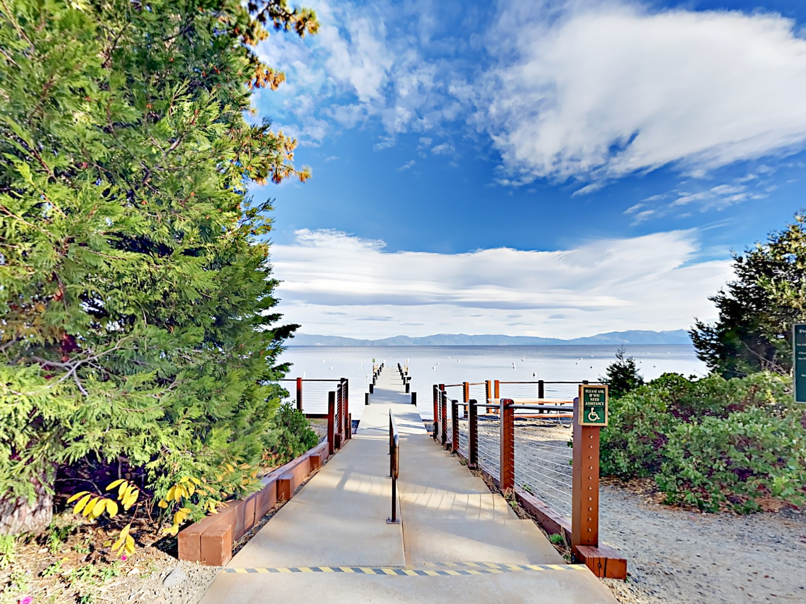 Enjoy access to 2 deepwater piers at Tahoe Park.