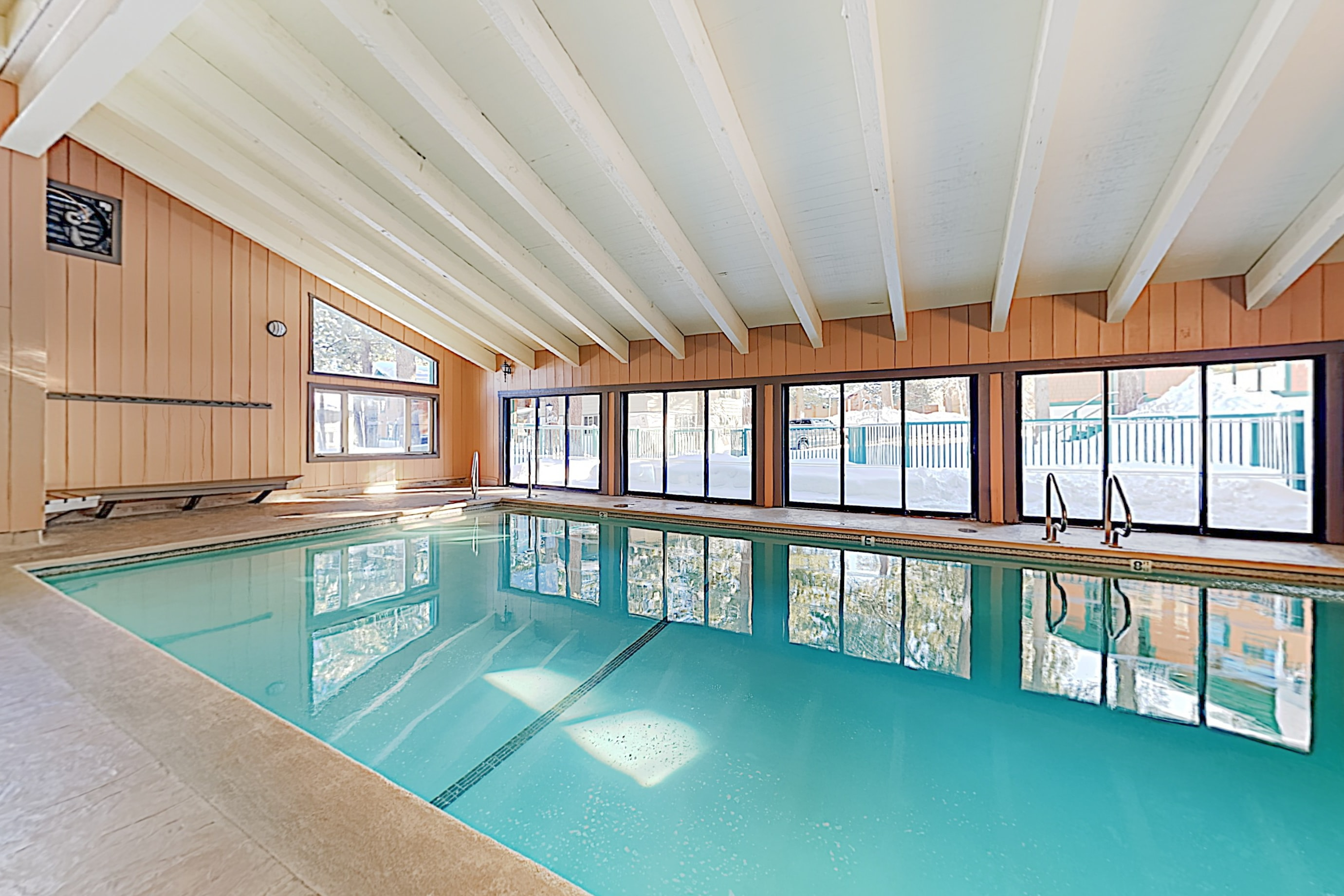 Dip in the year-round indoor heated pool.