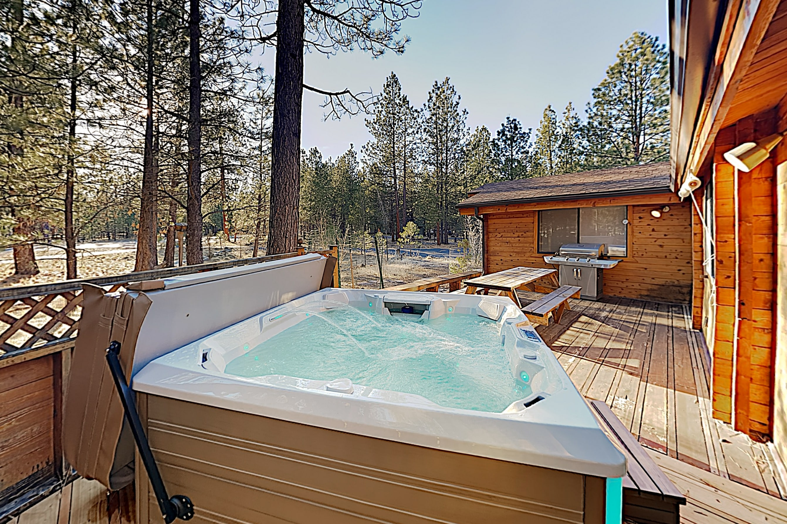 Take relaxing soaks in the brand-new hot tub.