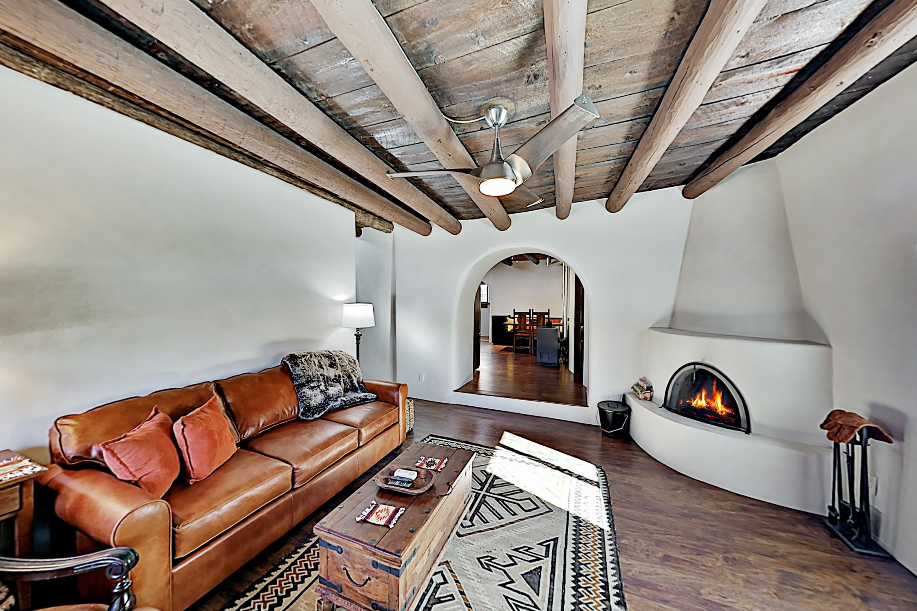 Pueblo Revival Home | Kiva Fireplace | Near Plaza