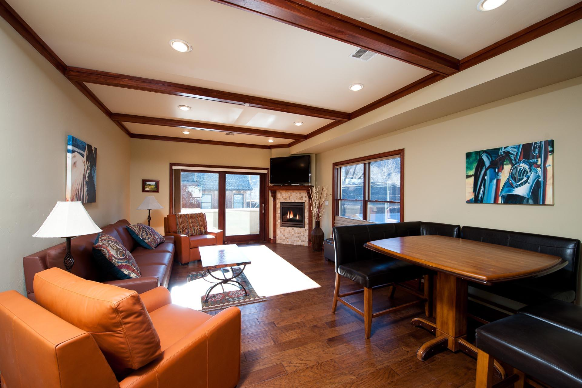 Downtown Durango, CO vacation rental condo. Living room with Fireplace and TV