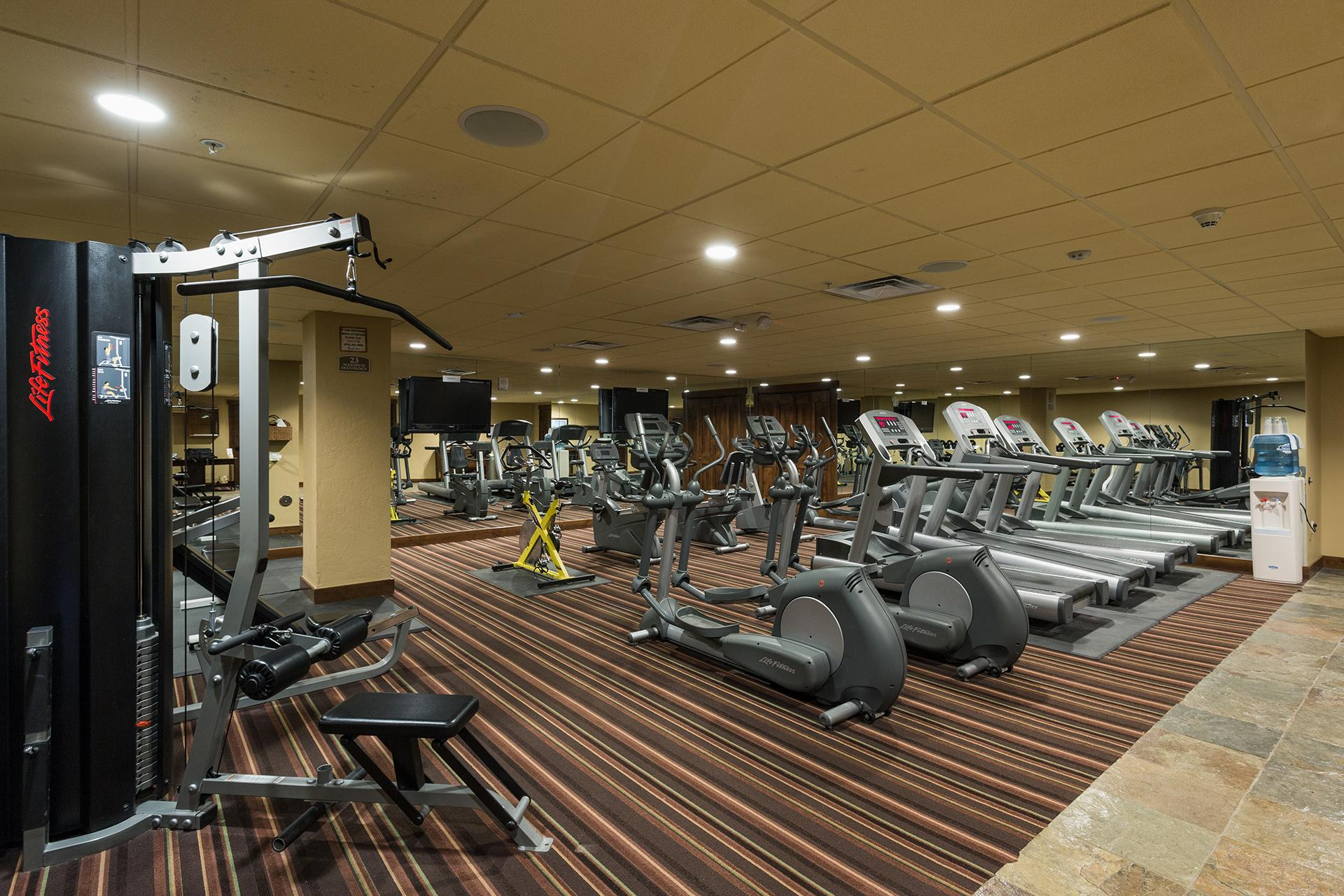 Purgatory Lodge gym facility. This is an optional amenity that you can access the Purg Lodge pool, hot tub, and gym facilities by paying an additional 4% fee.