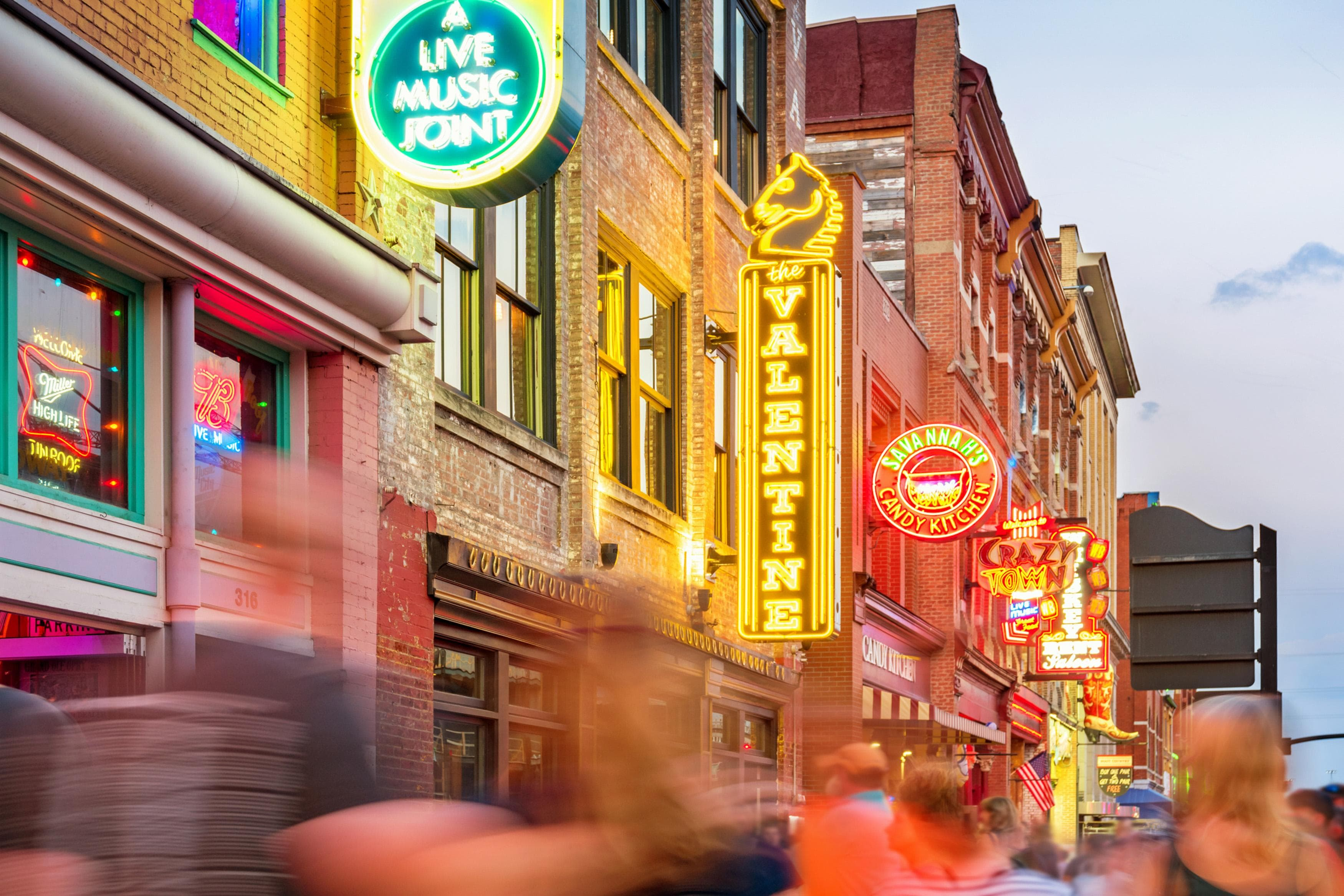 Venture to the heart of Nashville and find a slew of pubs offering free country music on the popular Honky Tonk Row.