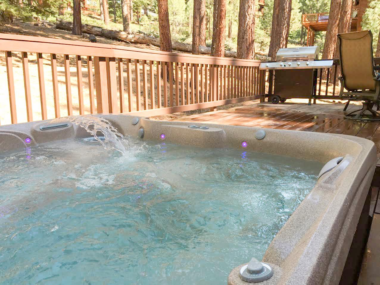 After a day of adventure, unwind in the private hot tub.