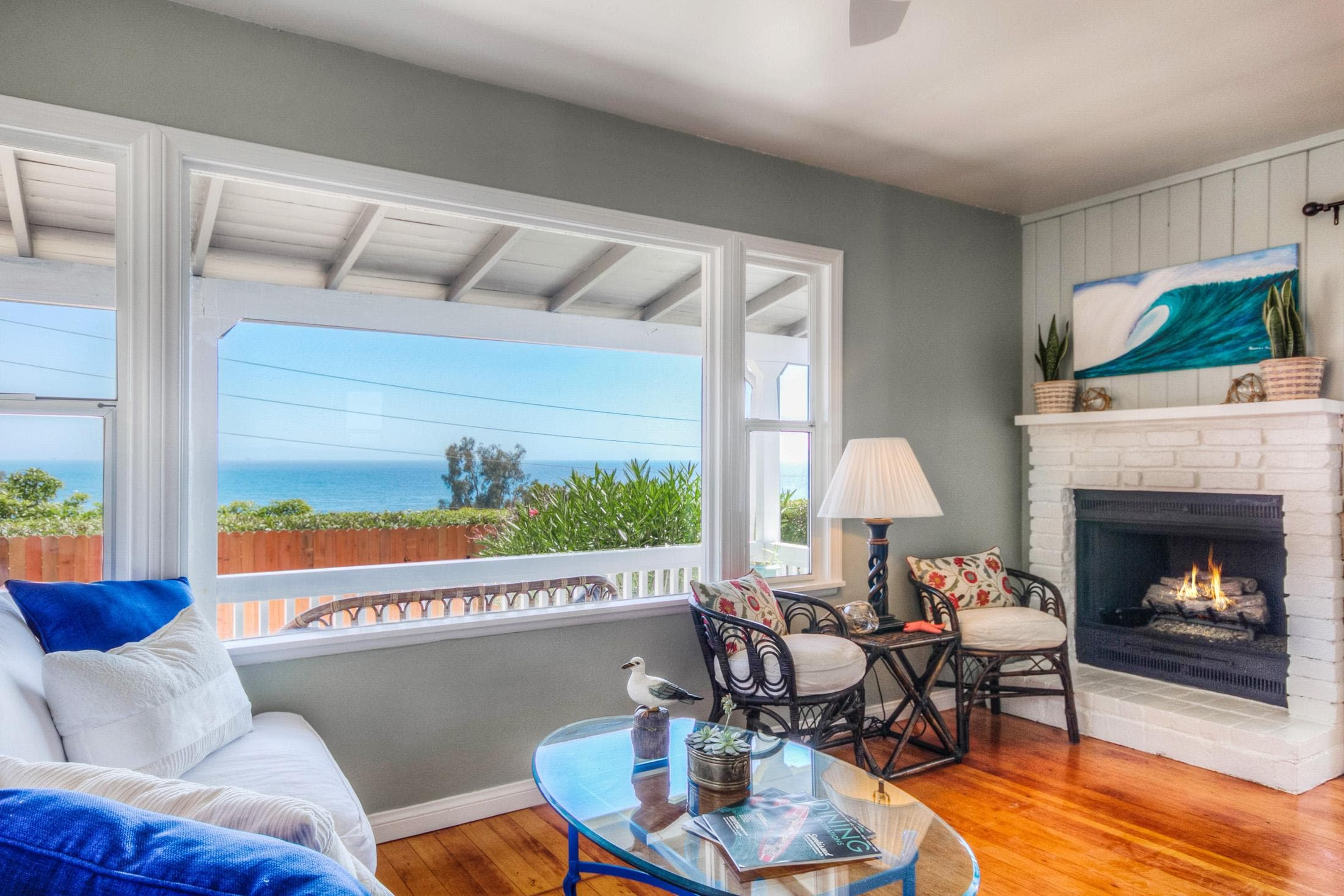 Enjoy the pristine views from the main living area in this exceptional rental on the coast of Summerland, CA.