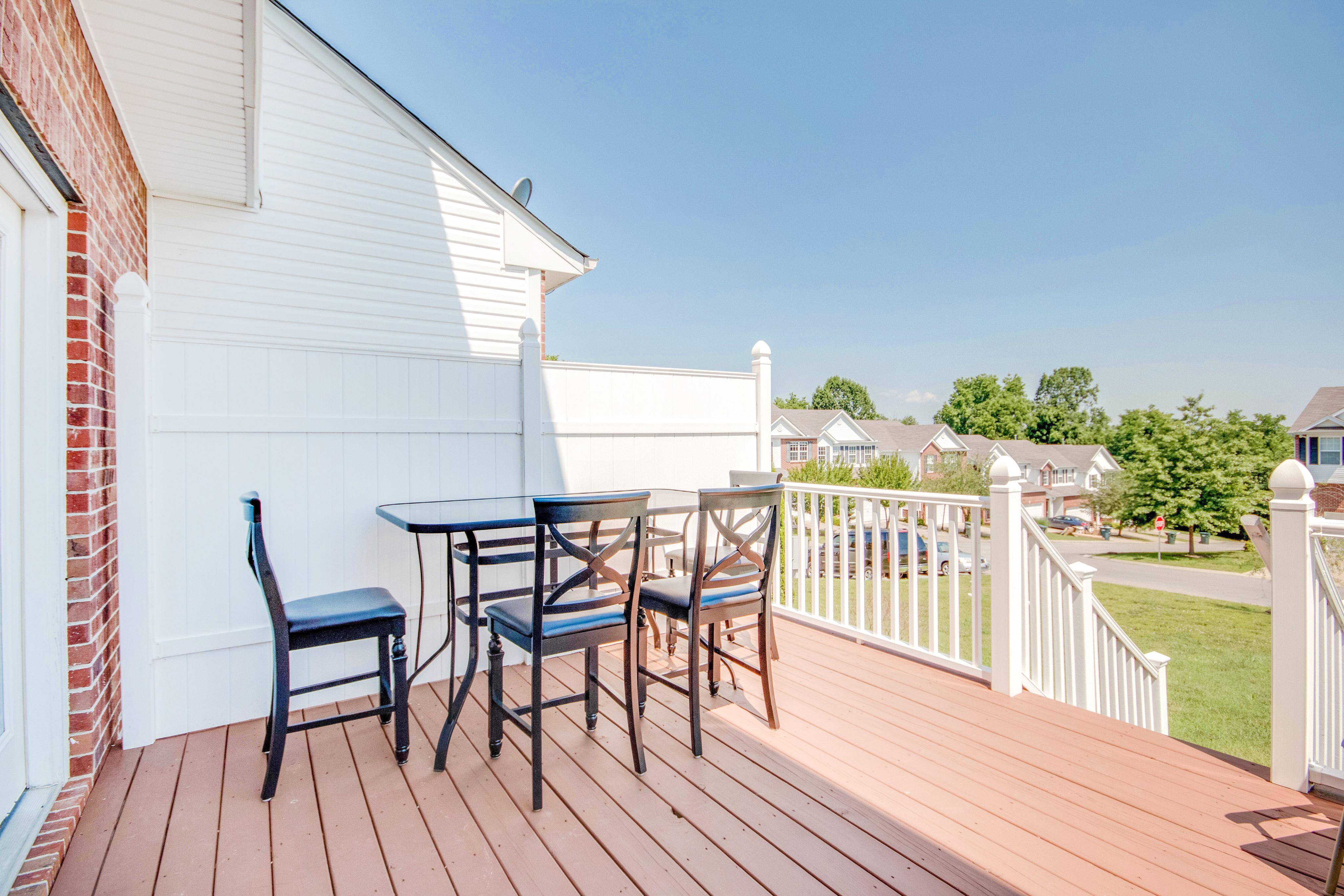 The back deck is the perfect place to enjoy a group meal.