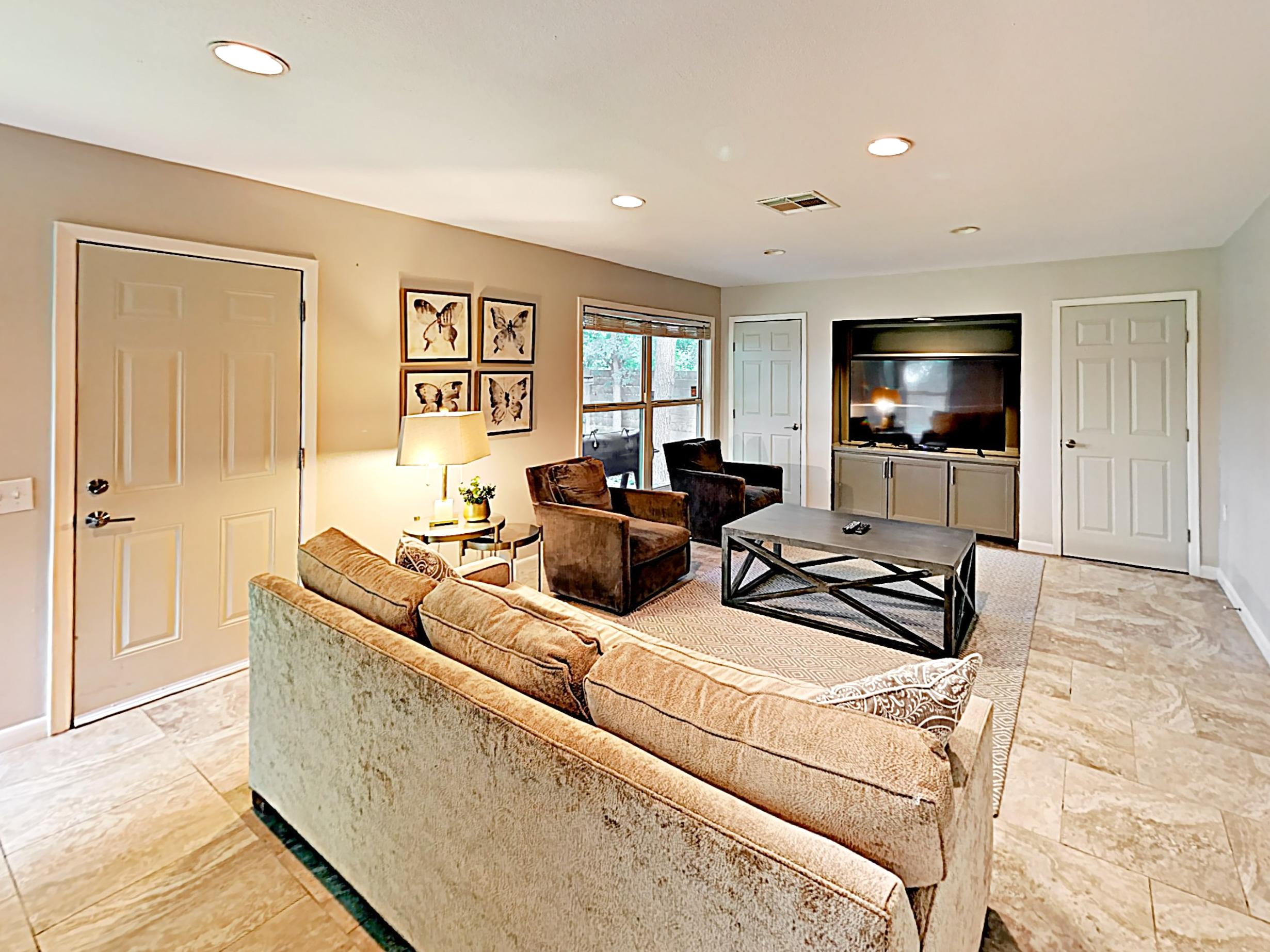 You'll find ample plush seating in the main living area.