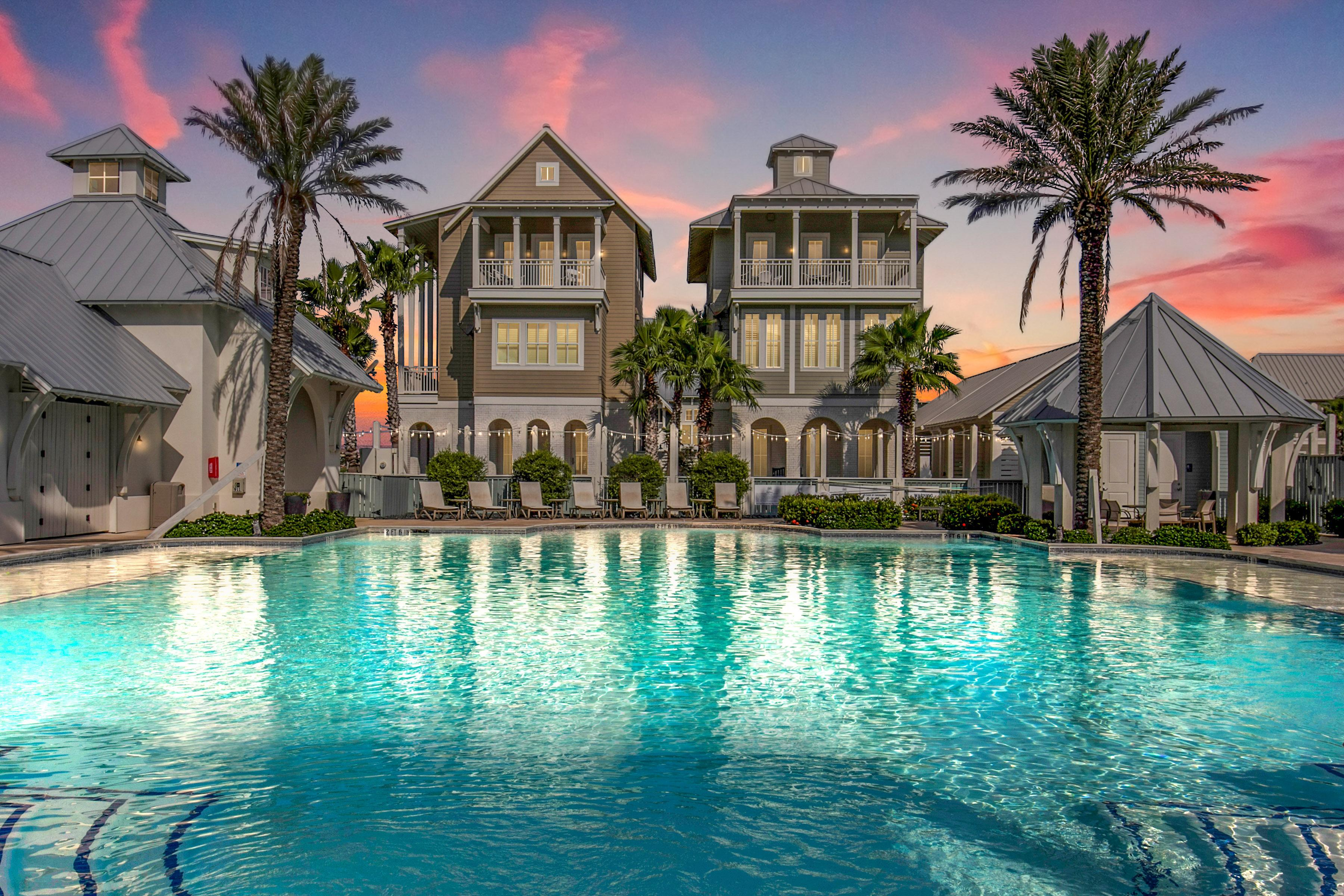 This Port Aransas poolside luxury home is part of the Palmilla Resort, and the amenities are fantastic!