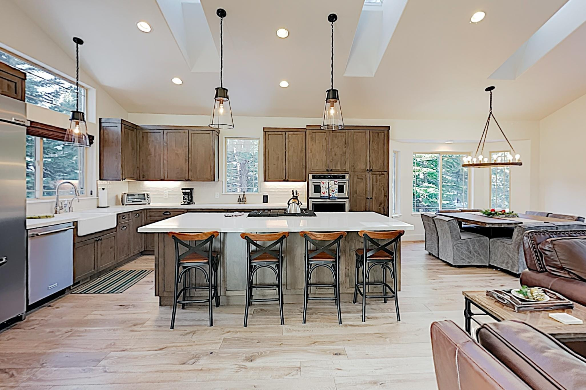 The kitchen is a show-stopper with a large center island and seating for 4.
