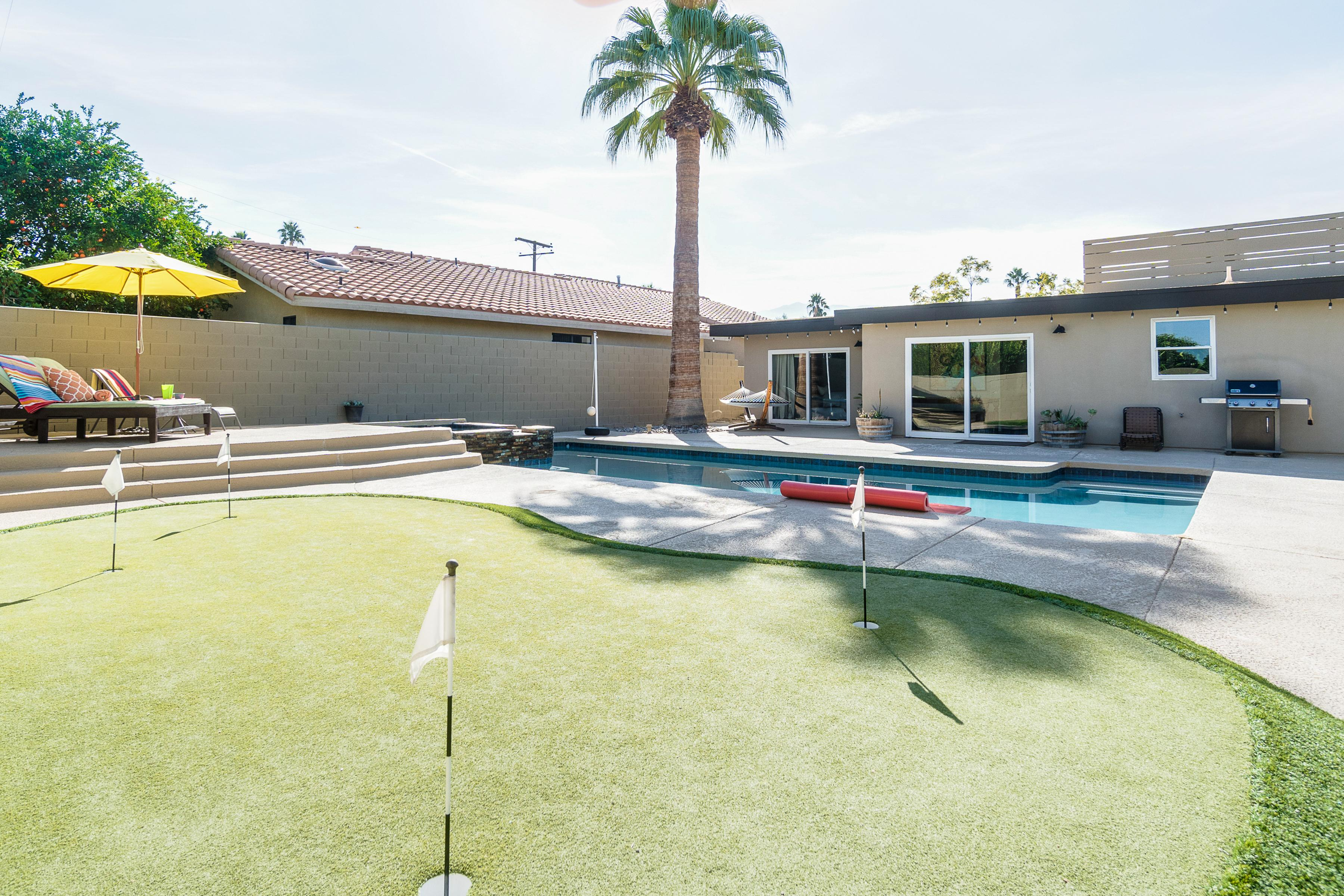 Make a splash in the private pool or practice your golf skills on the putting green.