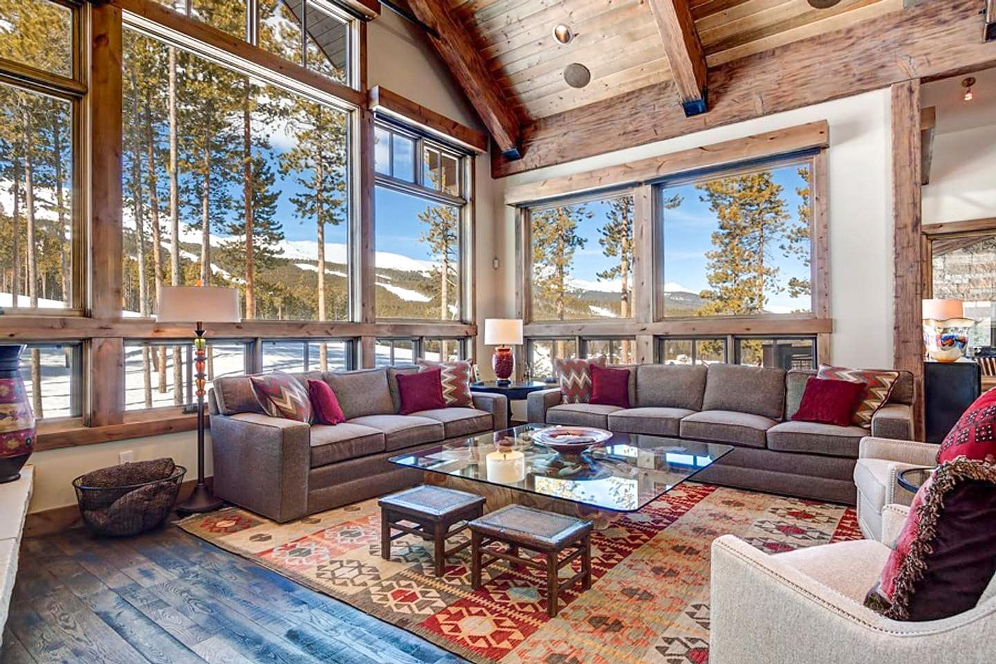 Gather next to the roaring fireplace and watch the skiers/bikers on the Trygve's Run.