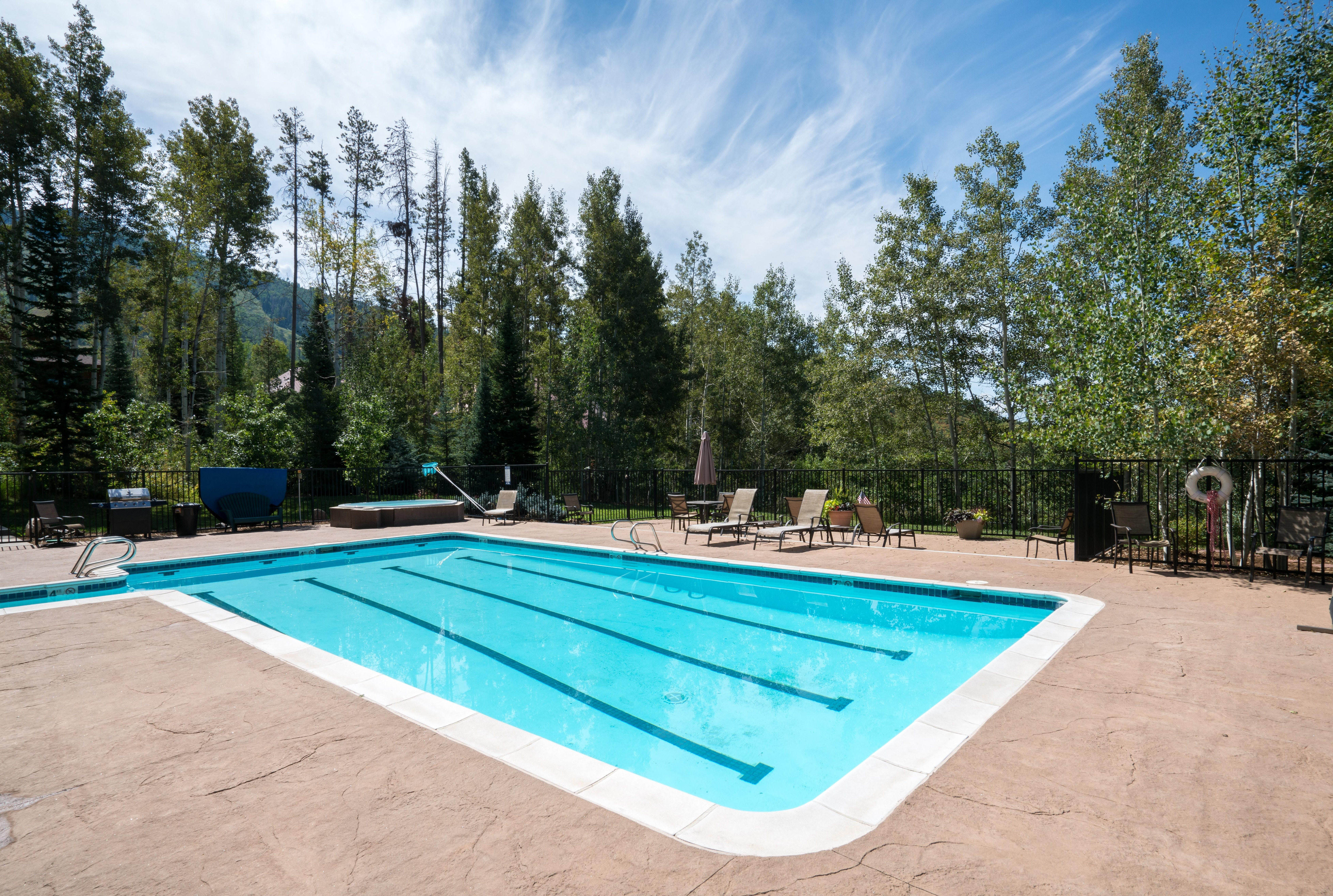 Come swim some laps while surrounded by peaceful pines.