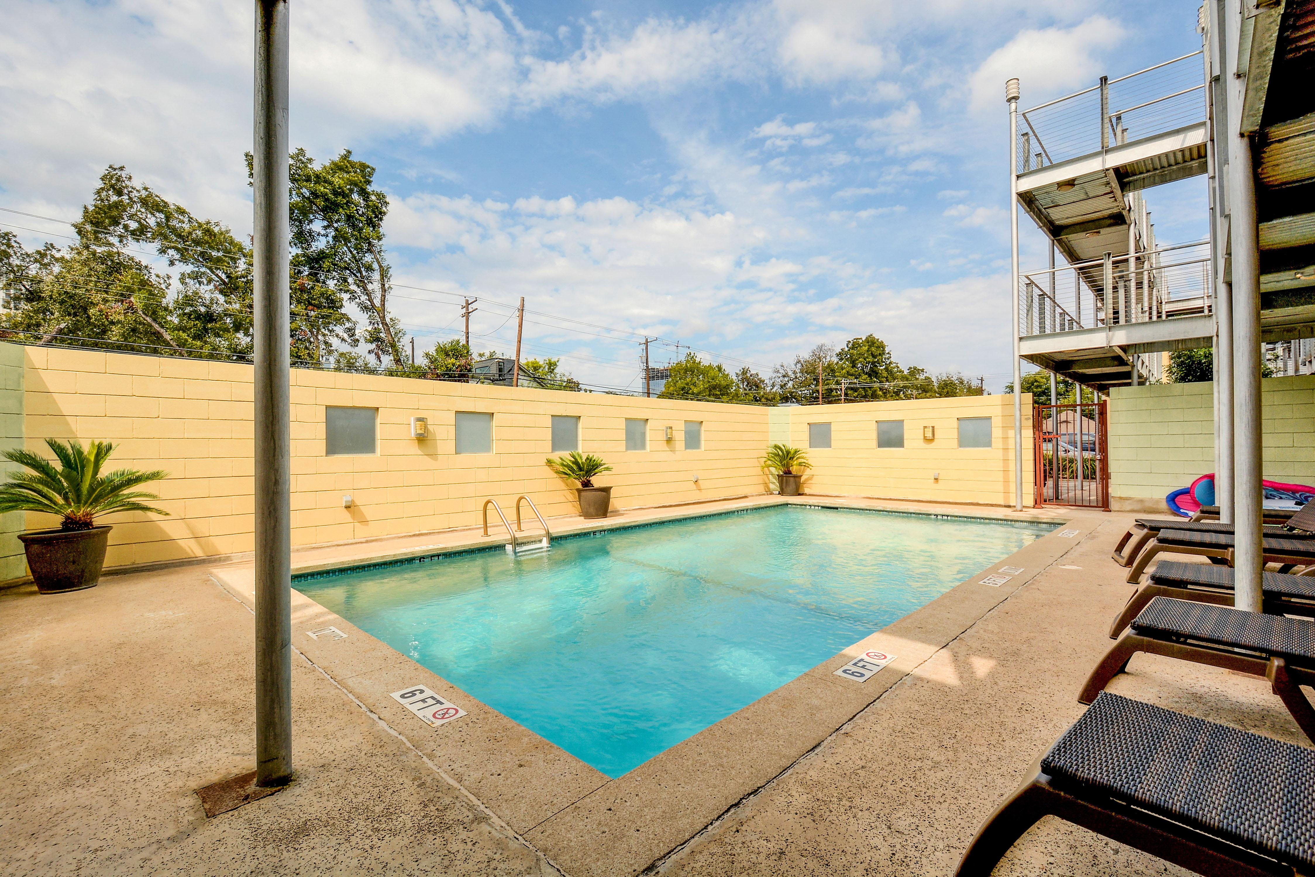 Take a dip in the community pool just outside.