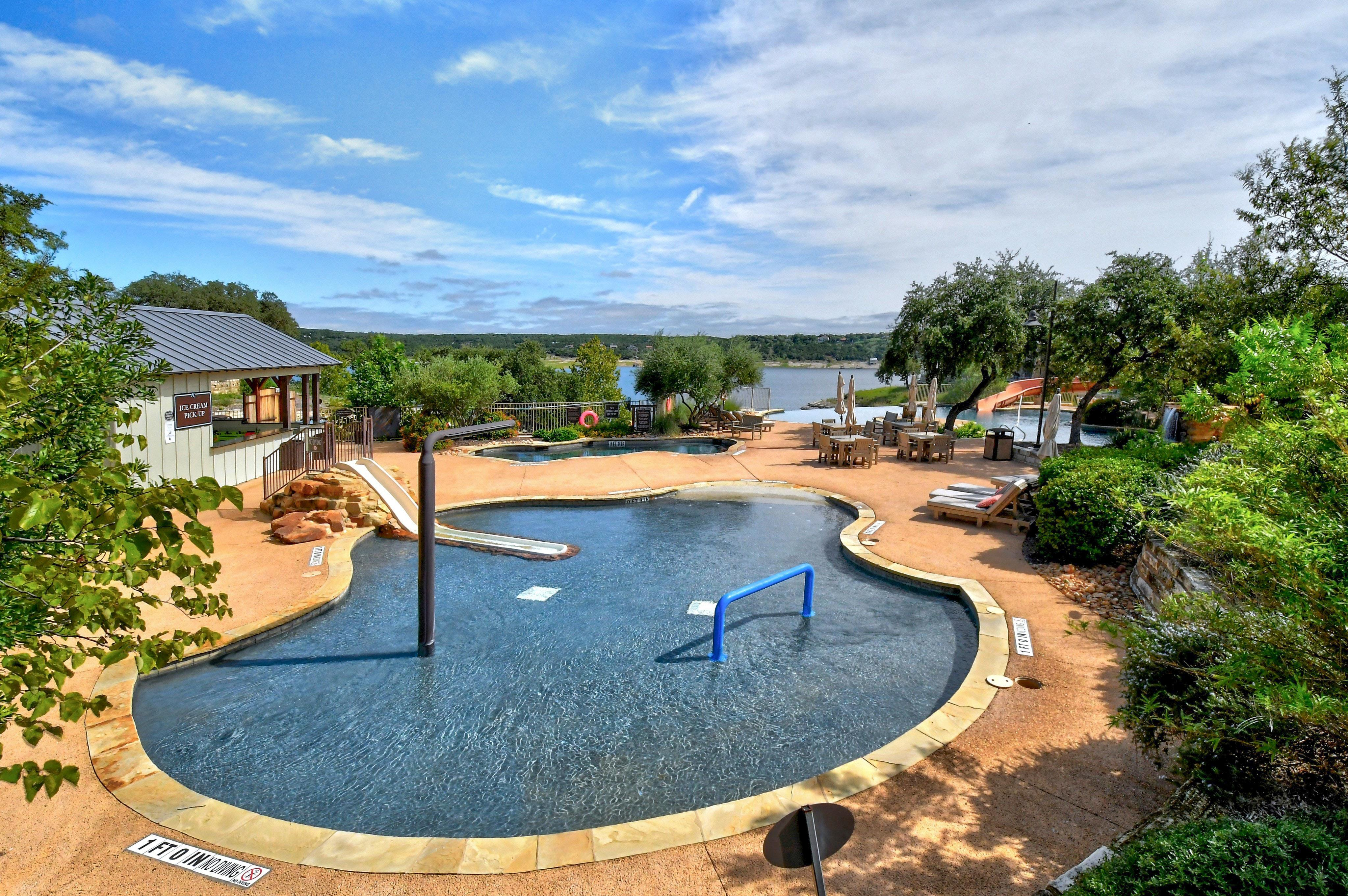 The Reserve at Lake Travis is lakefront, with a marina, lazy river pool, and tennis courts!