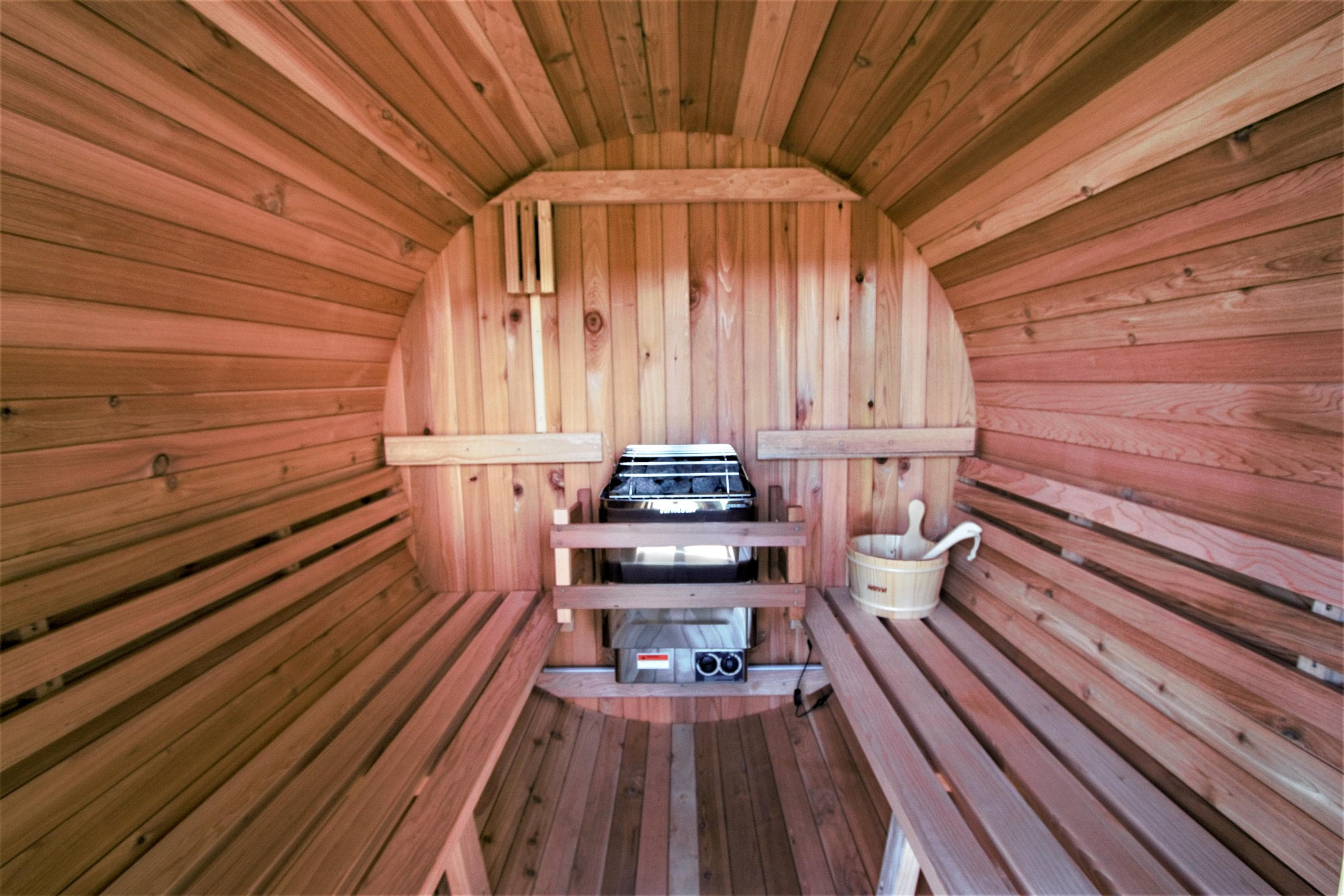 Sit back and unwind in the outdoor steam sauna.
