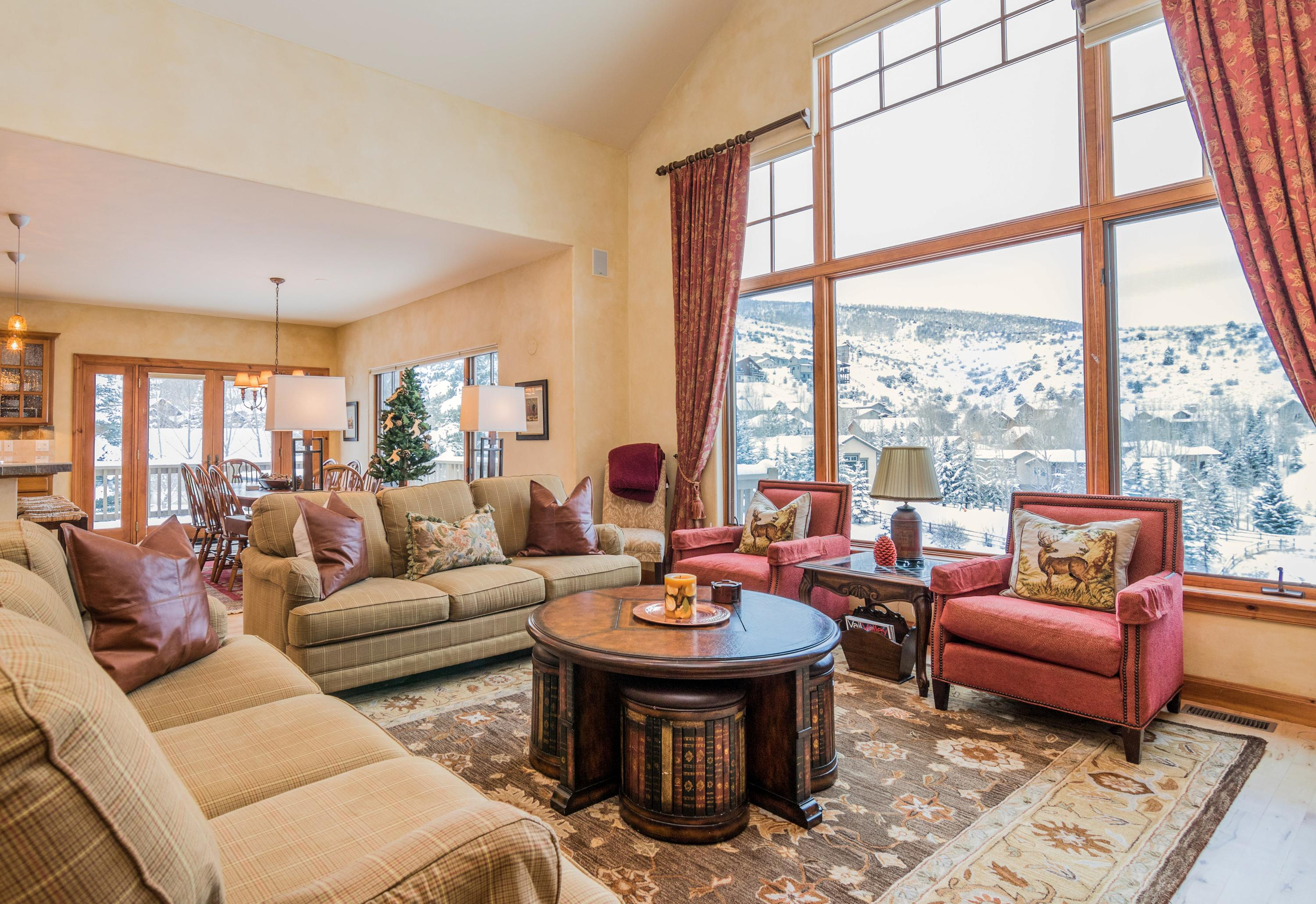 Stretch out in the open-concept living space and take in views of the rolling hillsides.