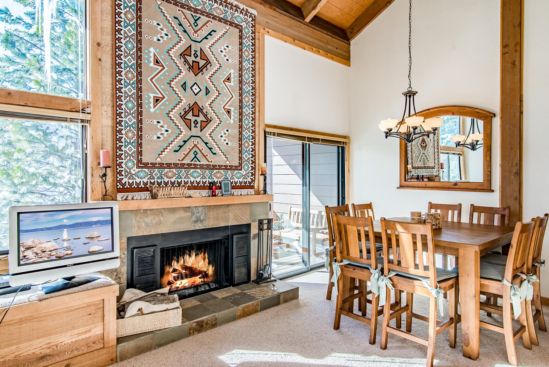 Enjoy a bite to eat next to the flickering fireplace.