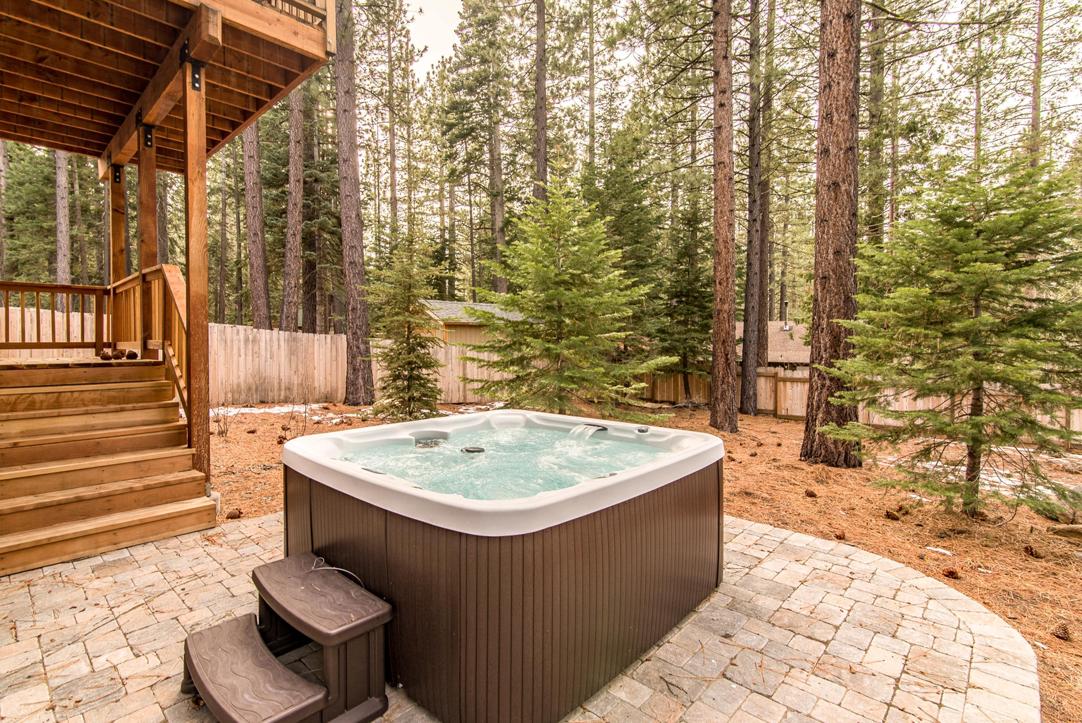 After a day of adventure, unwind in the hot tub.