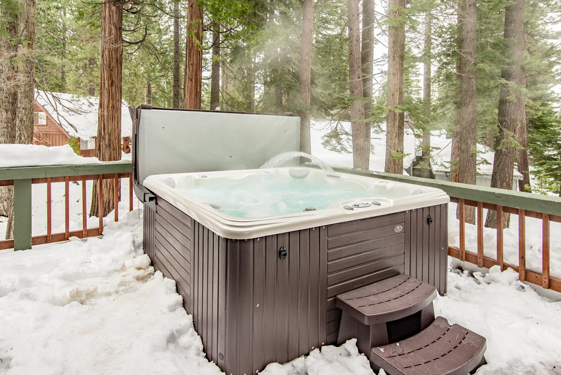 Take a soak in the private hot tub.