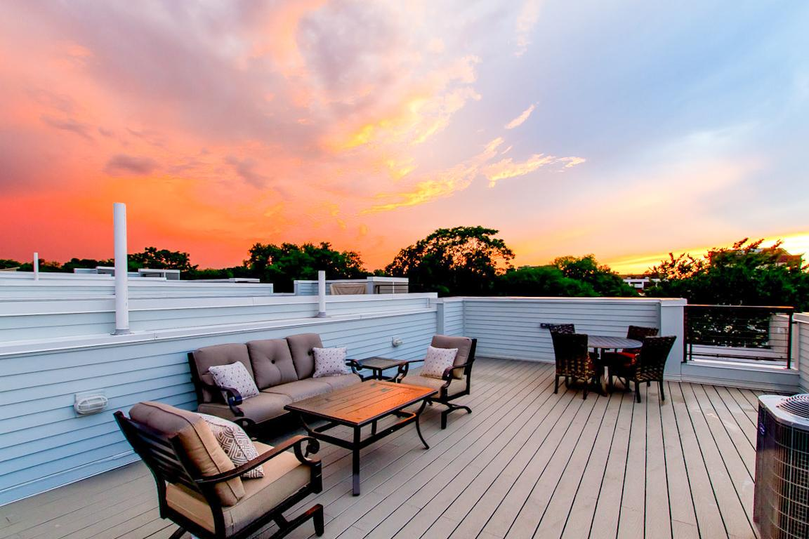 Private rooftop with plenty of lounge furniture to enjoy the sunset in Nashville.