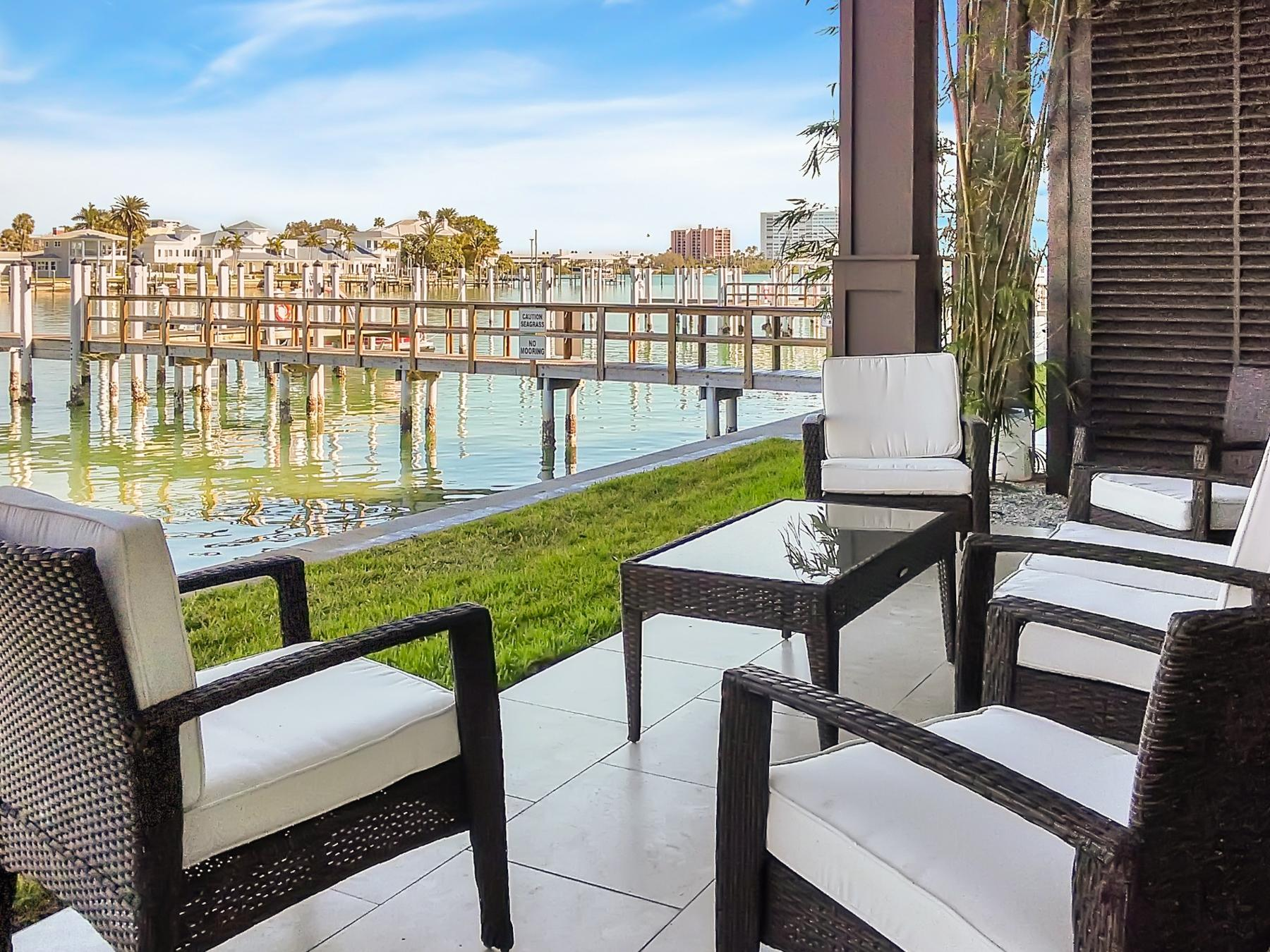 Relax on the waterfront patio with lounge seating for 6. Enjoy access to the private dock.