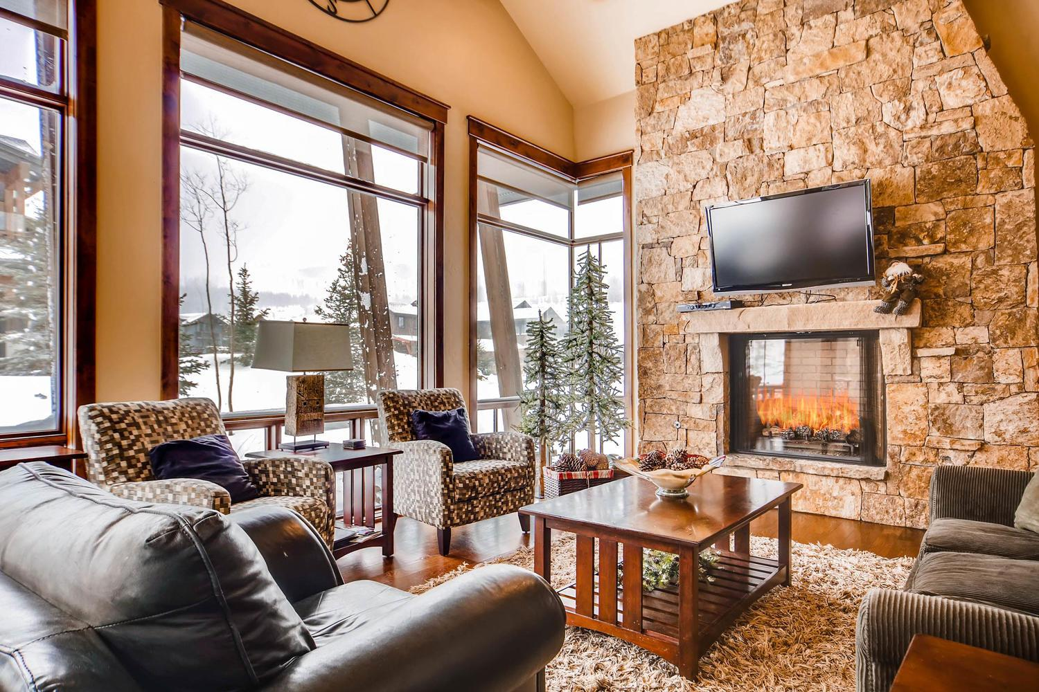 This luxury mountain home boasts high-end finishes.