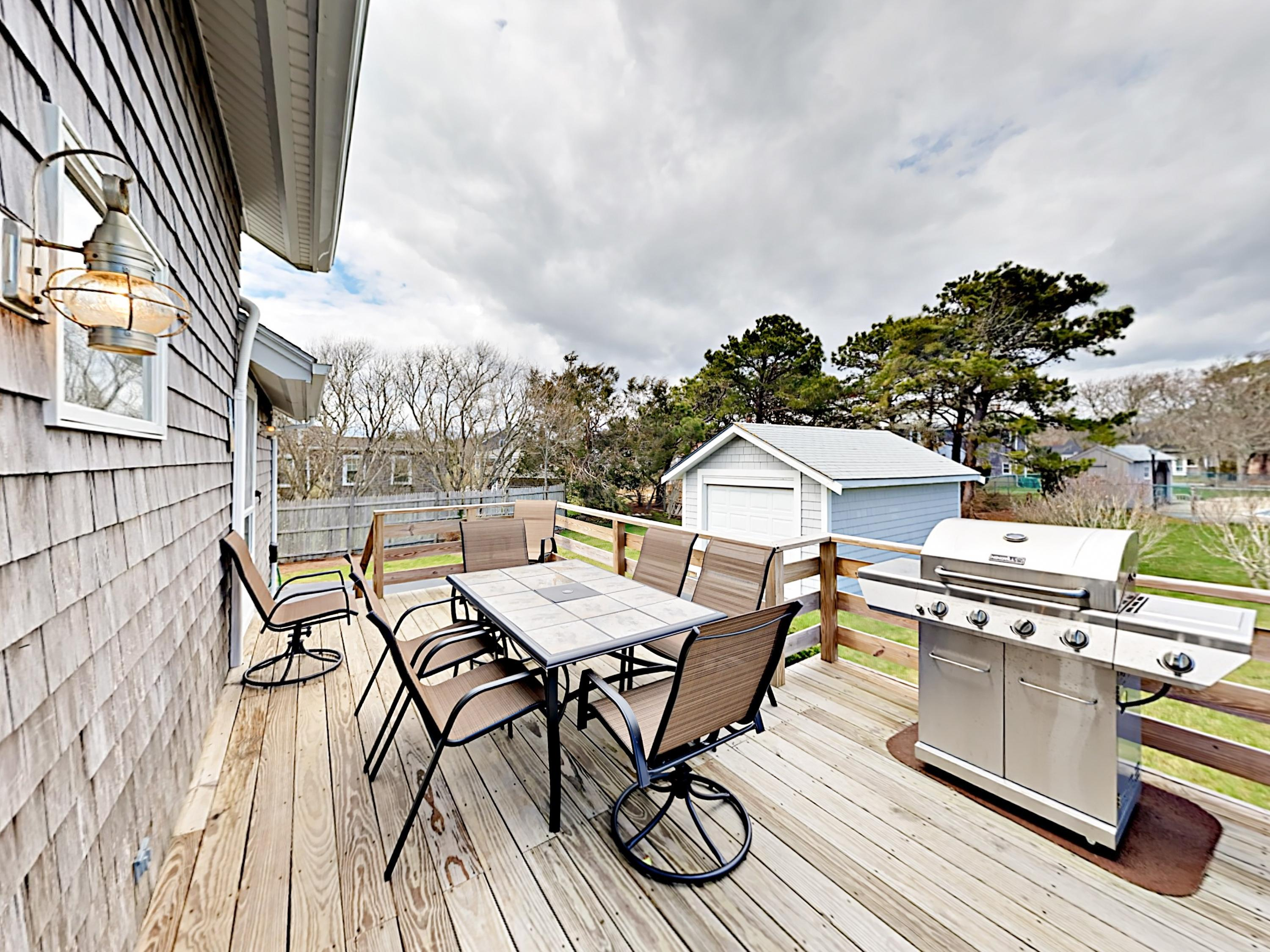 Fire up the grill and dine alfresco on the private deck with seating for 8.
