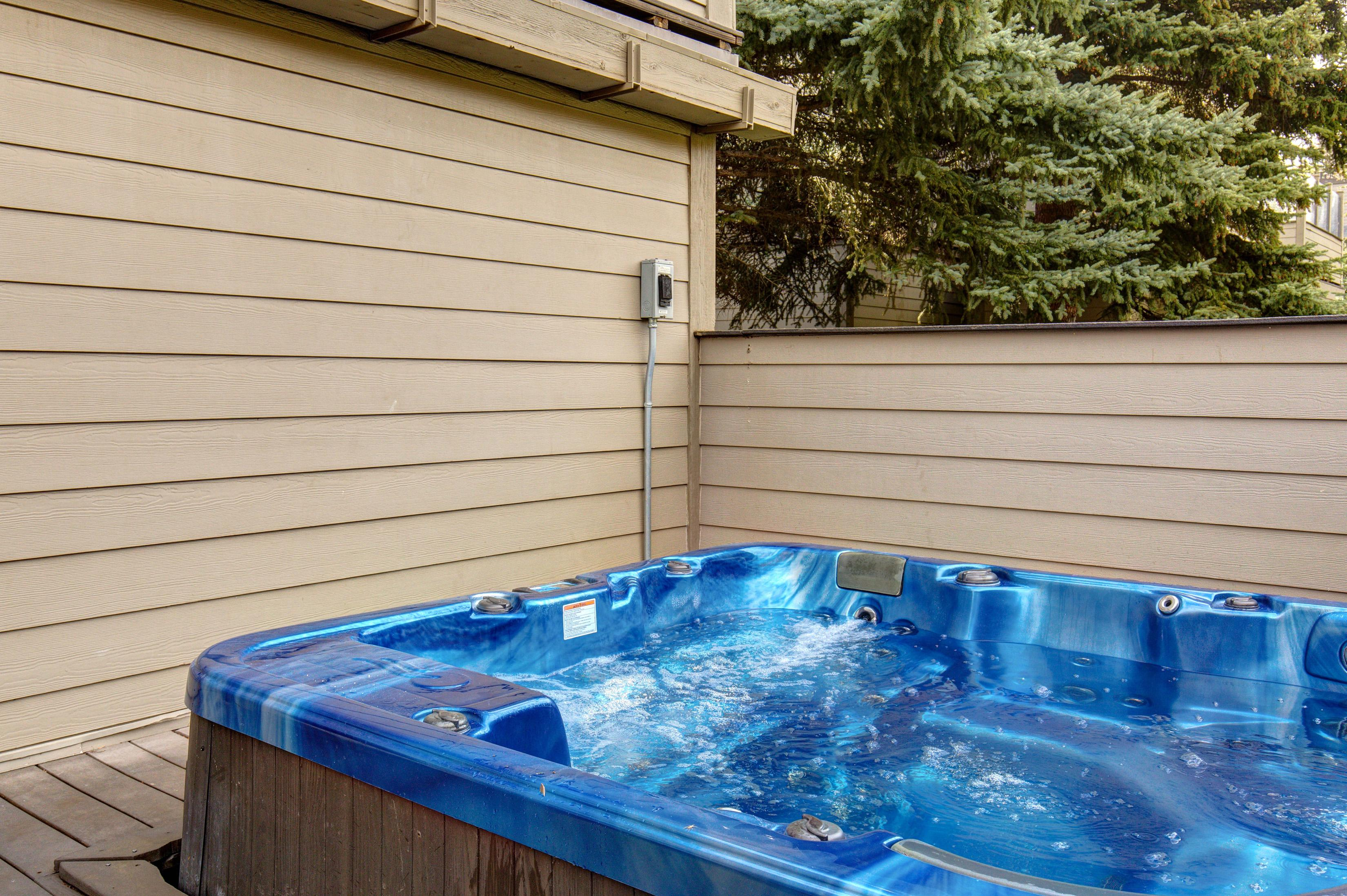Luxuriate with a soak in your private hot tub.