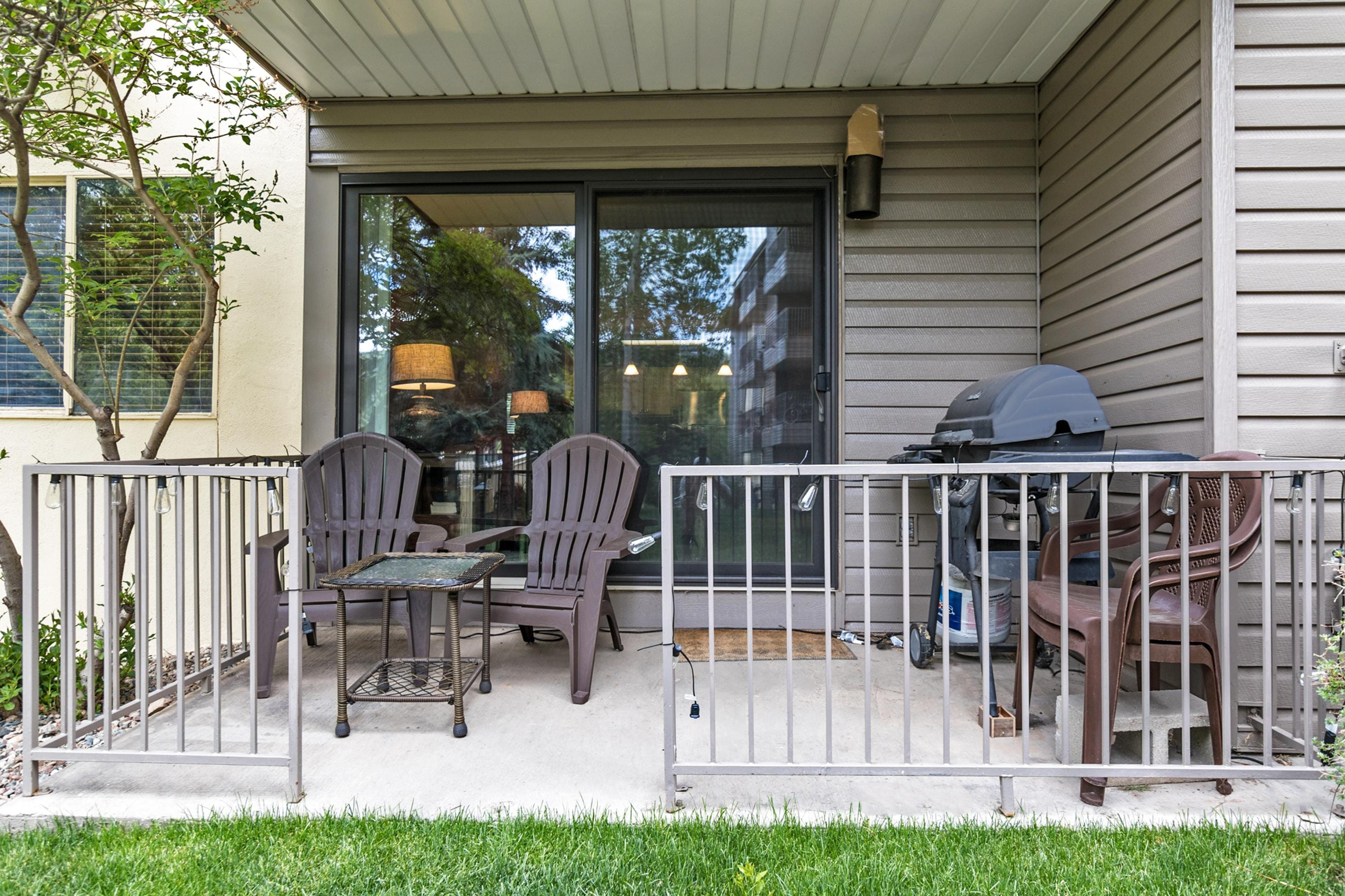 The back patio is ideal for a cup of coffee in the morning, or an evening barbecue.