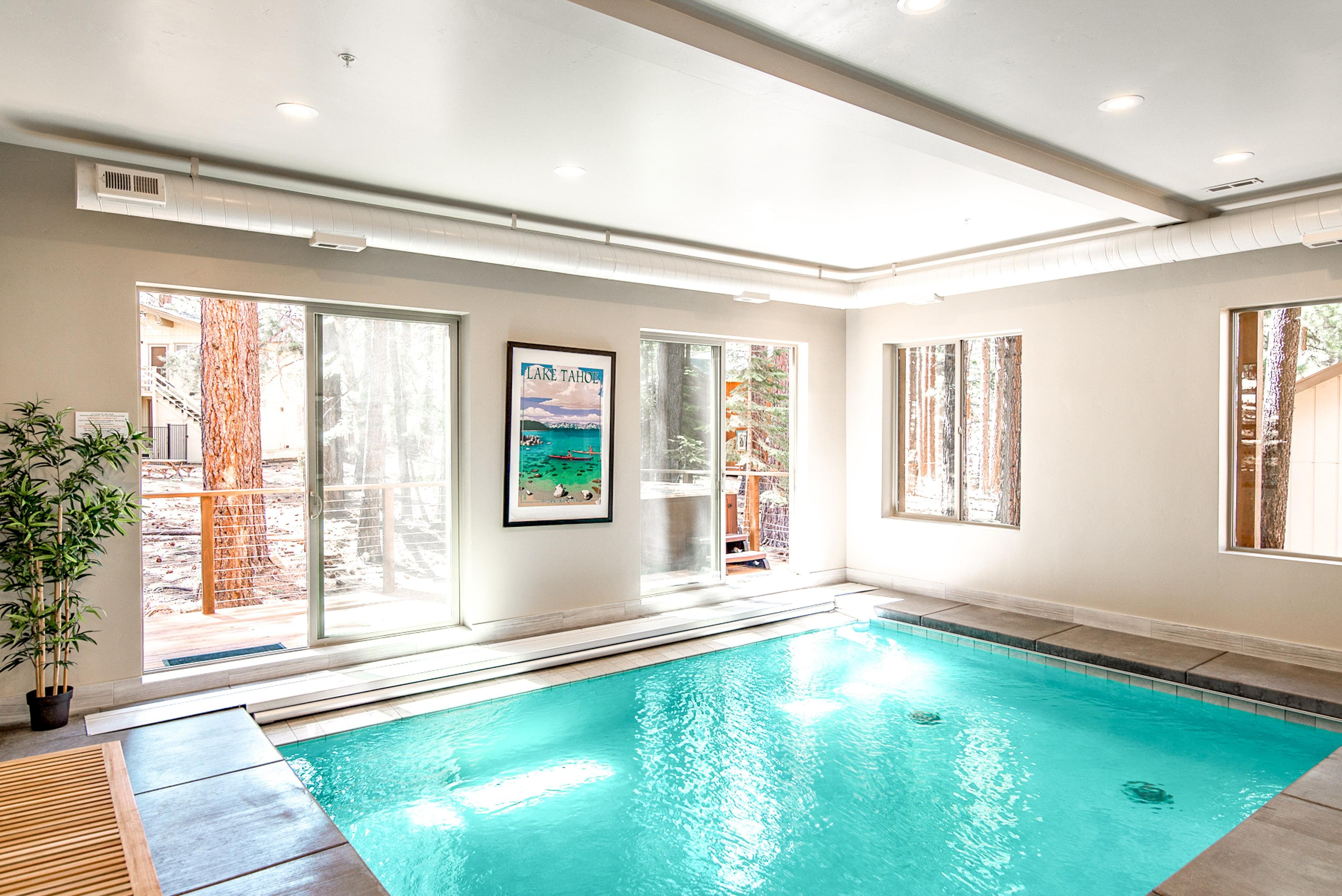 Take a dip in the indoor pool. There is a convenient full bathroom right outside the pool area to rinse off.