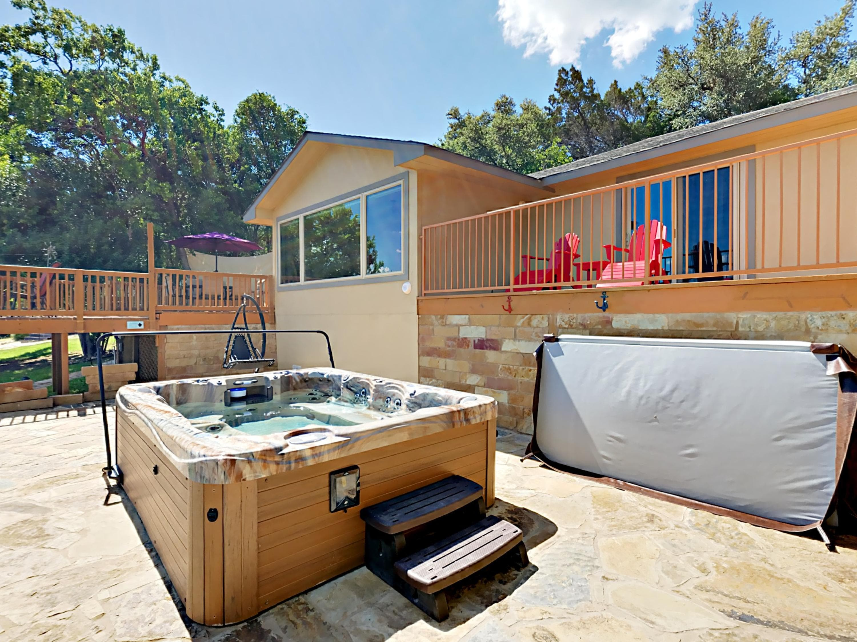 Relax in the bubbling hot tub right outside.