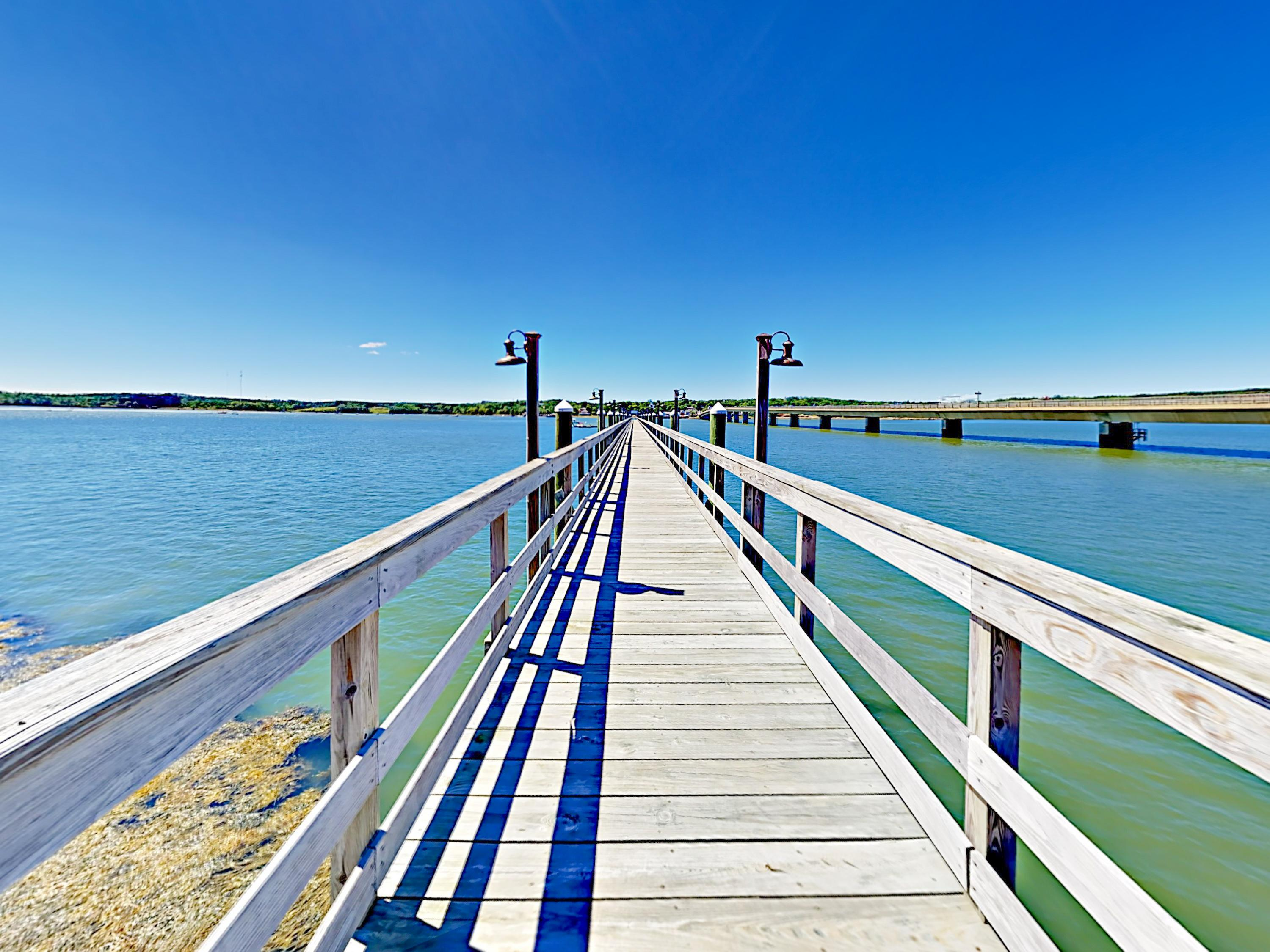Enjoy a stroll on the dock over Sheepscot River.
