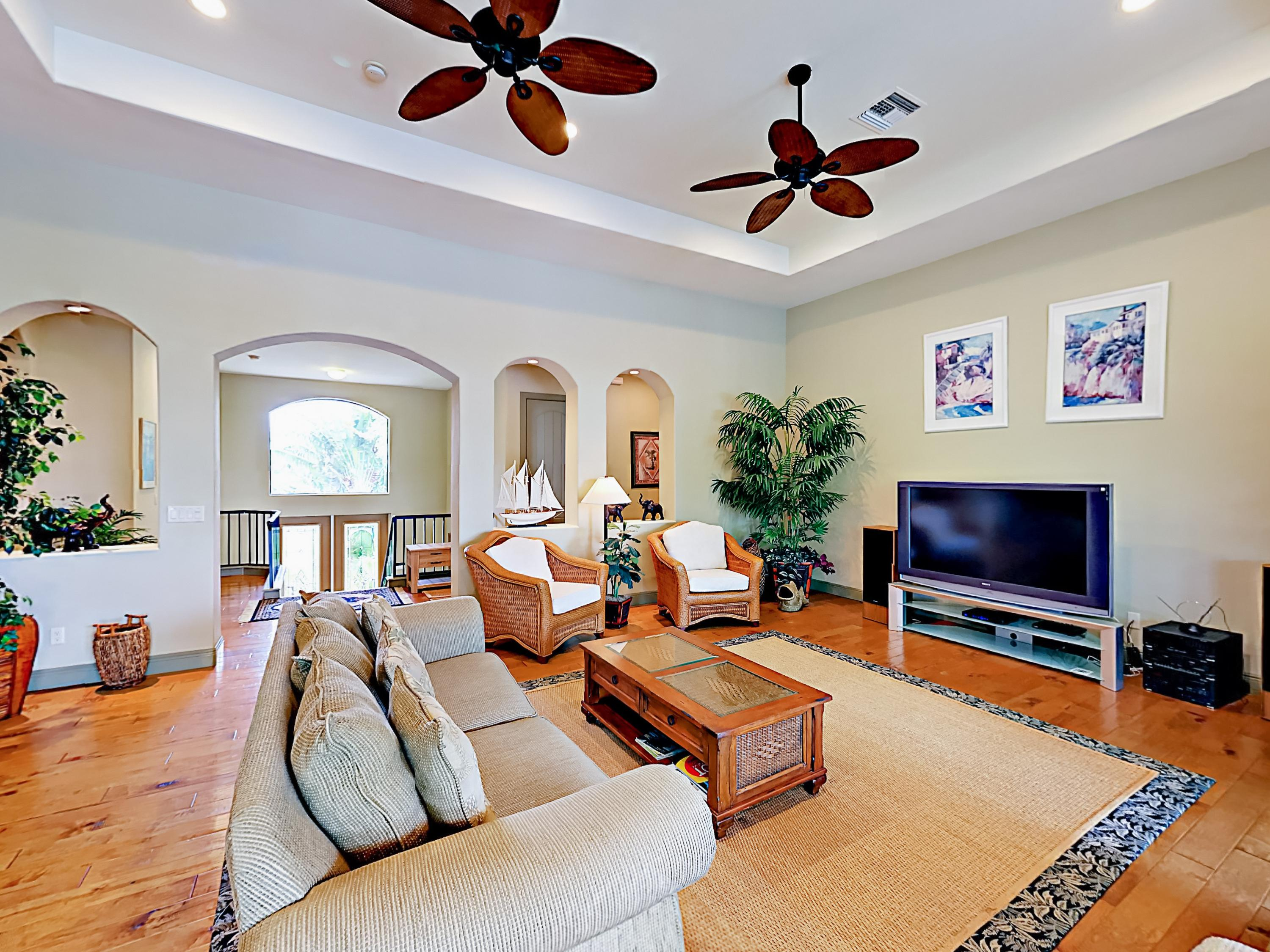 Hardwood floors add sophistication to the main living area.