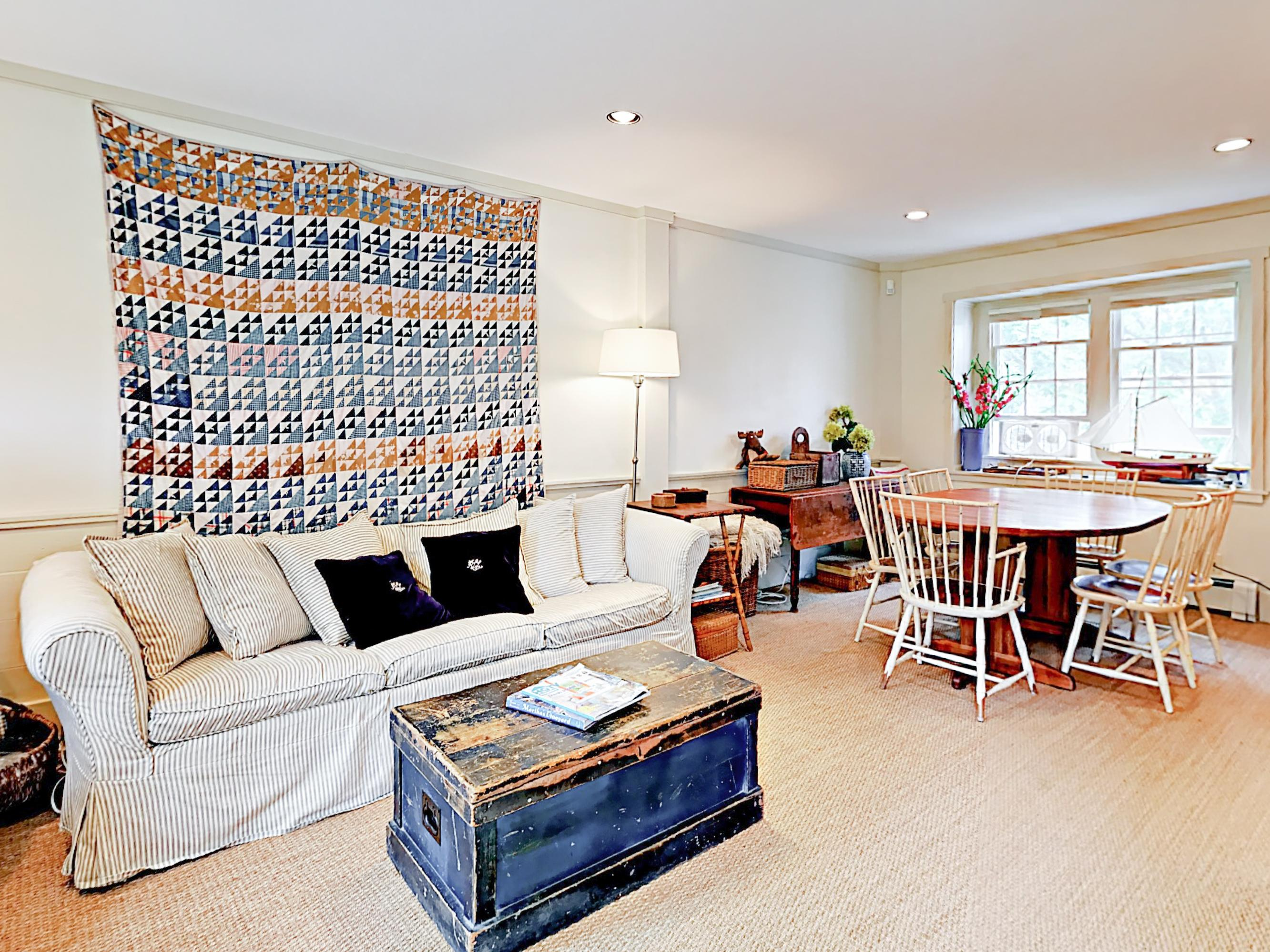 Nautical accents fill the rental with a classic beach vibe.