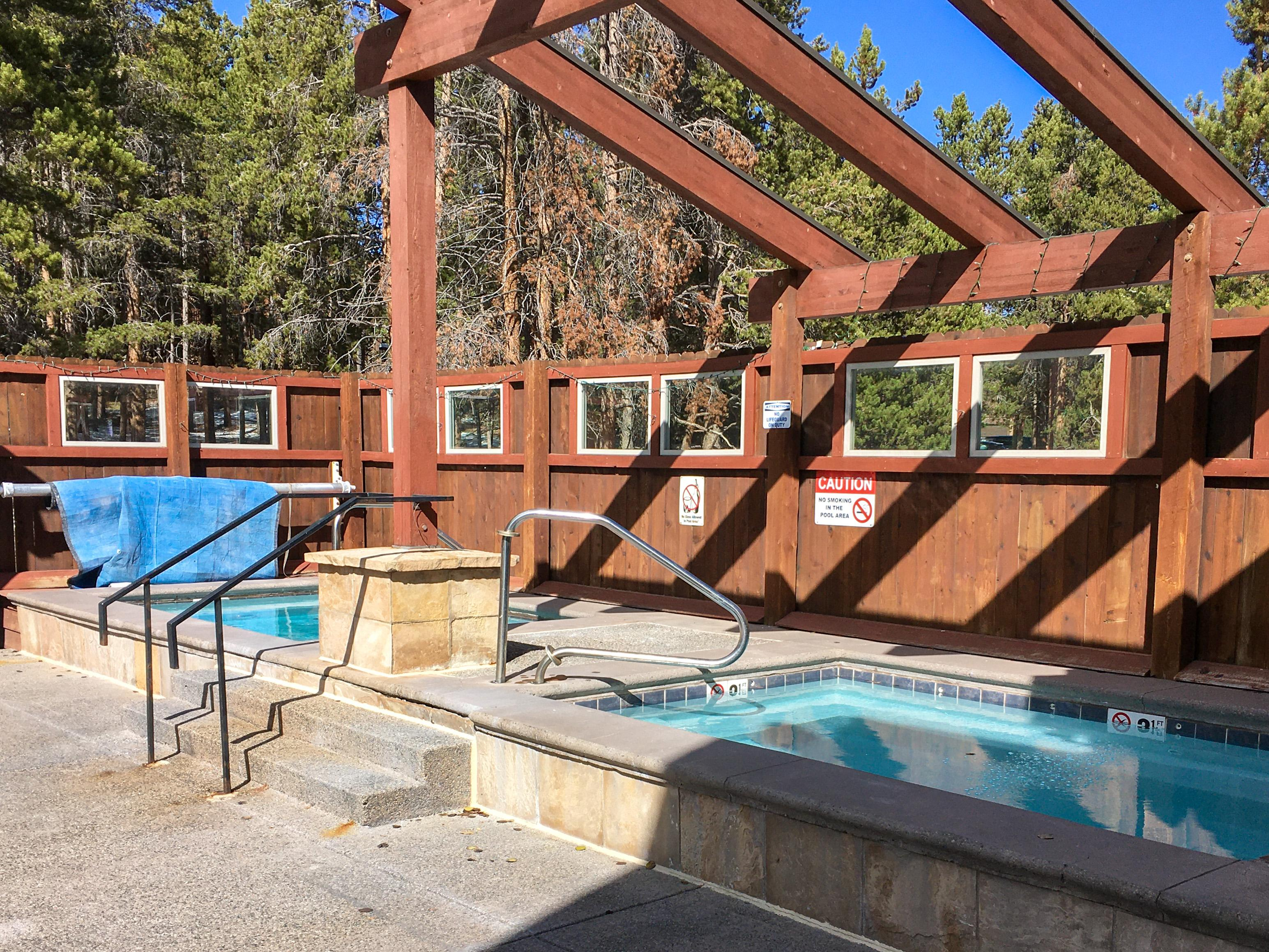 The pool area also features several hot tubs.