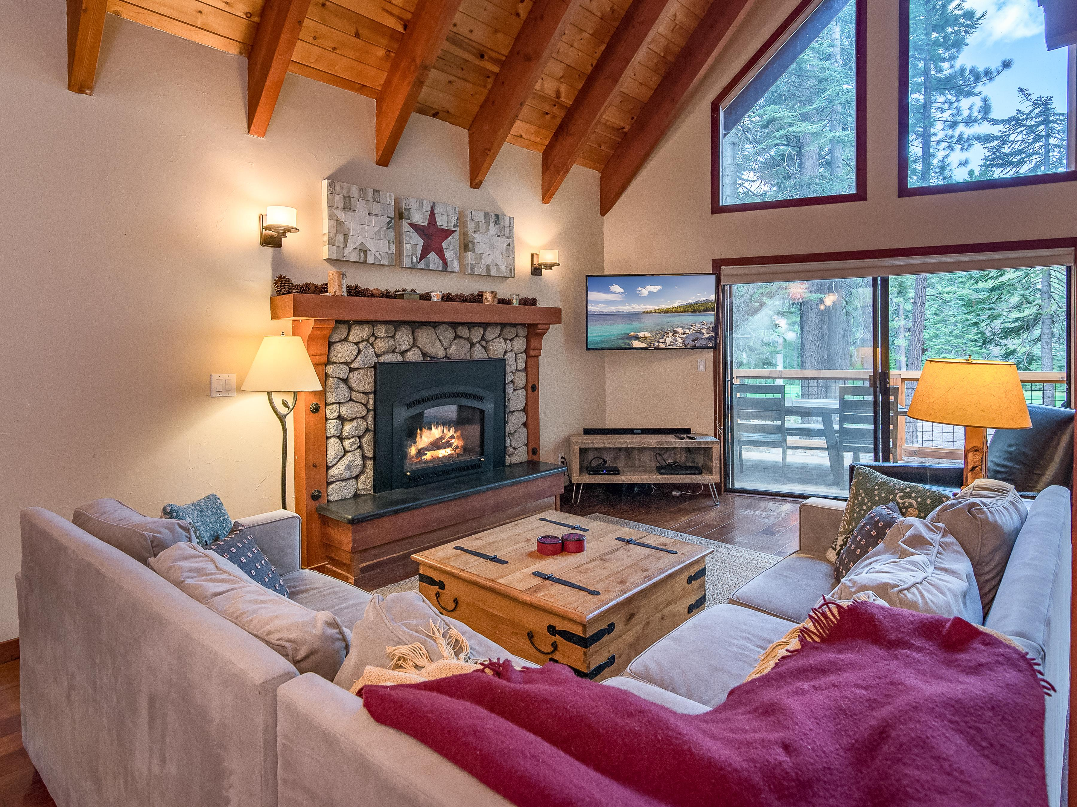 Welcome to Truckee! Curl up beside the large gas fireplace on chilly nights.