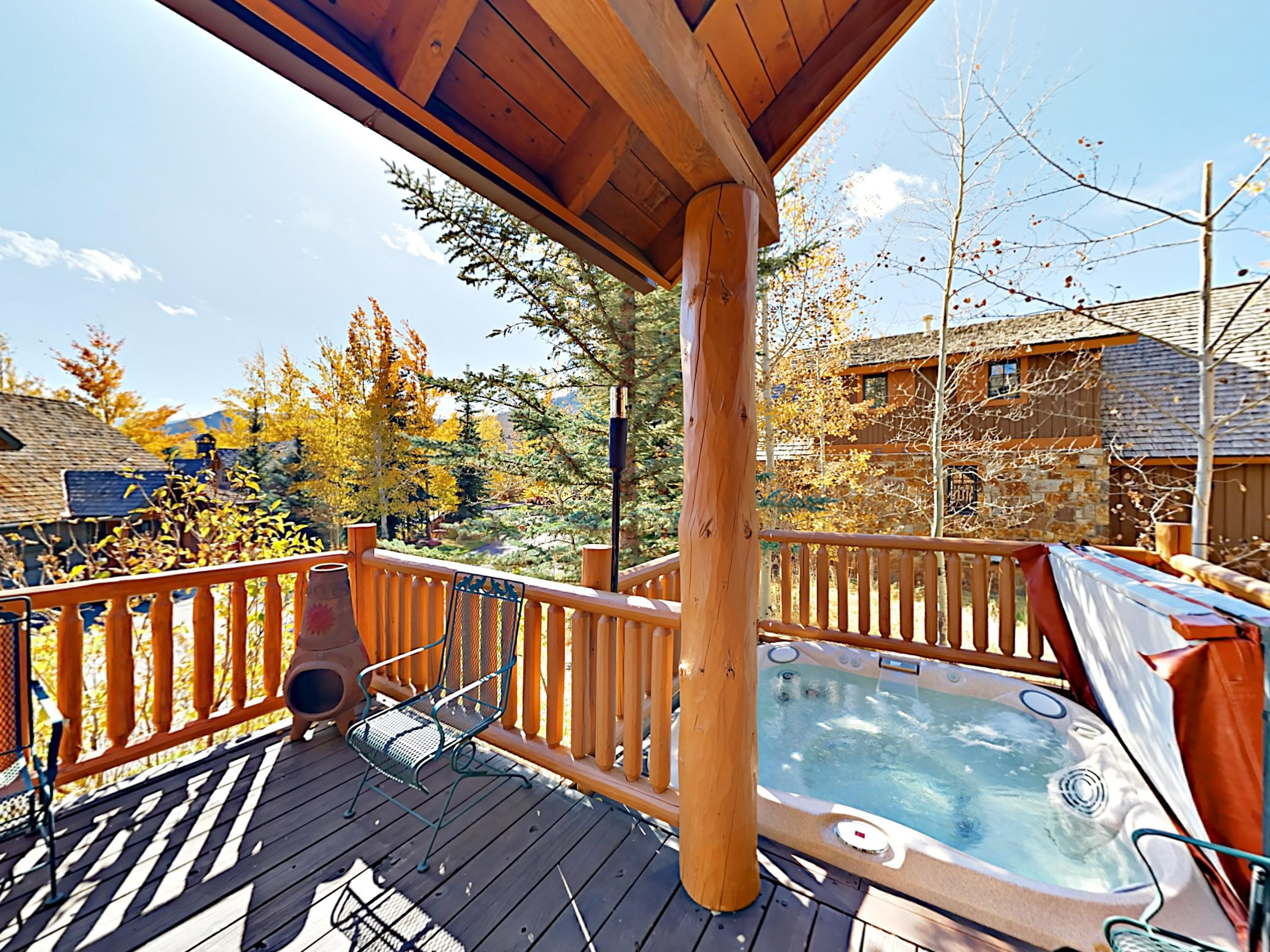After a day of alpine adventures, enjoy a soak in your private hot tub.