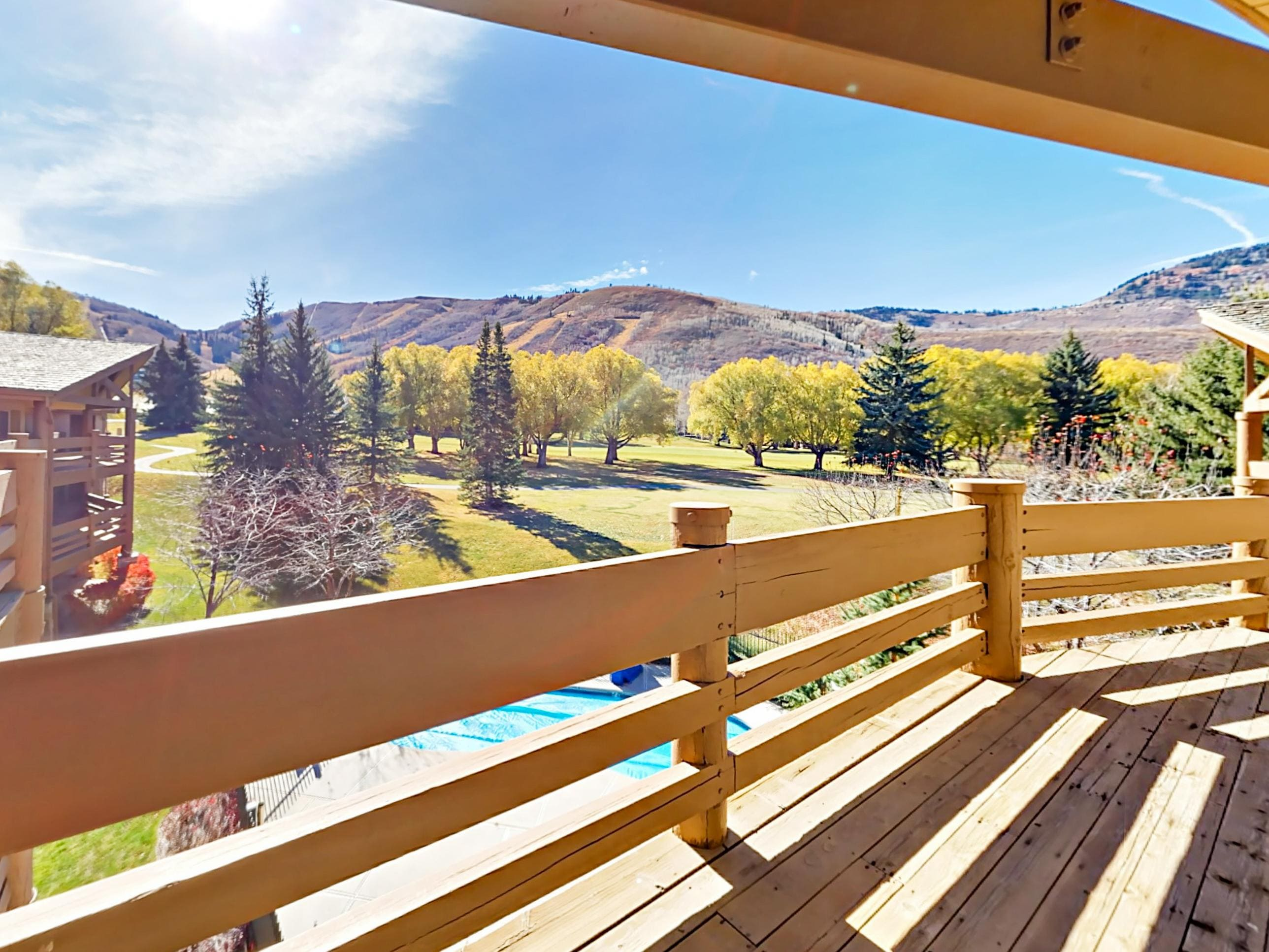 Enjoy the gorgeous mountain view outside your conveniently located condo.